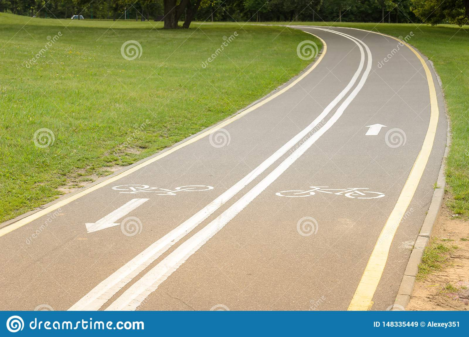 Det asfalterade cykelspåret i parkerar/det asfalterade cykelspåret i parkerar med ett grönt gräs
