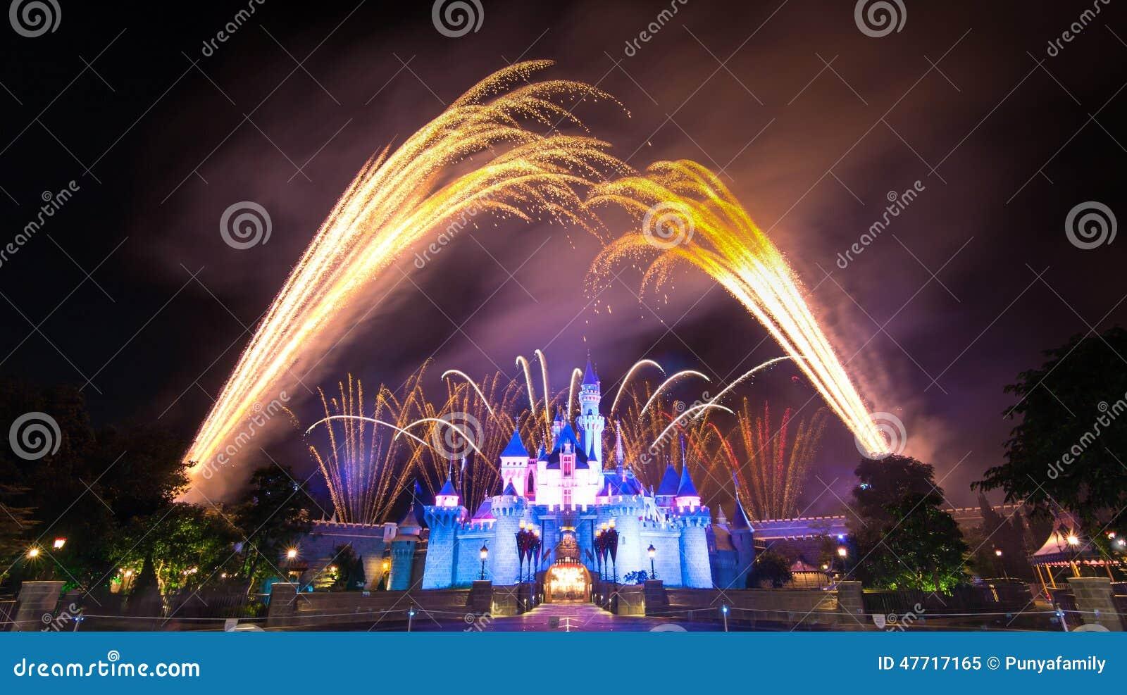 Det berömda stjärnafyrverkerit av Hong Kong DisneyLand