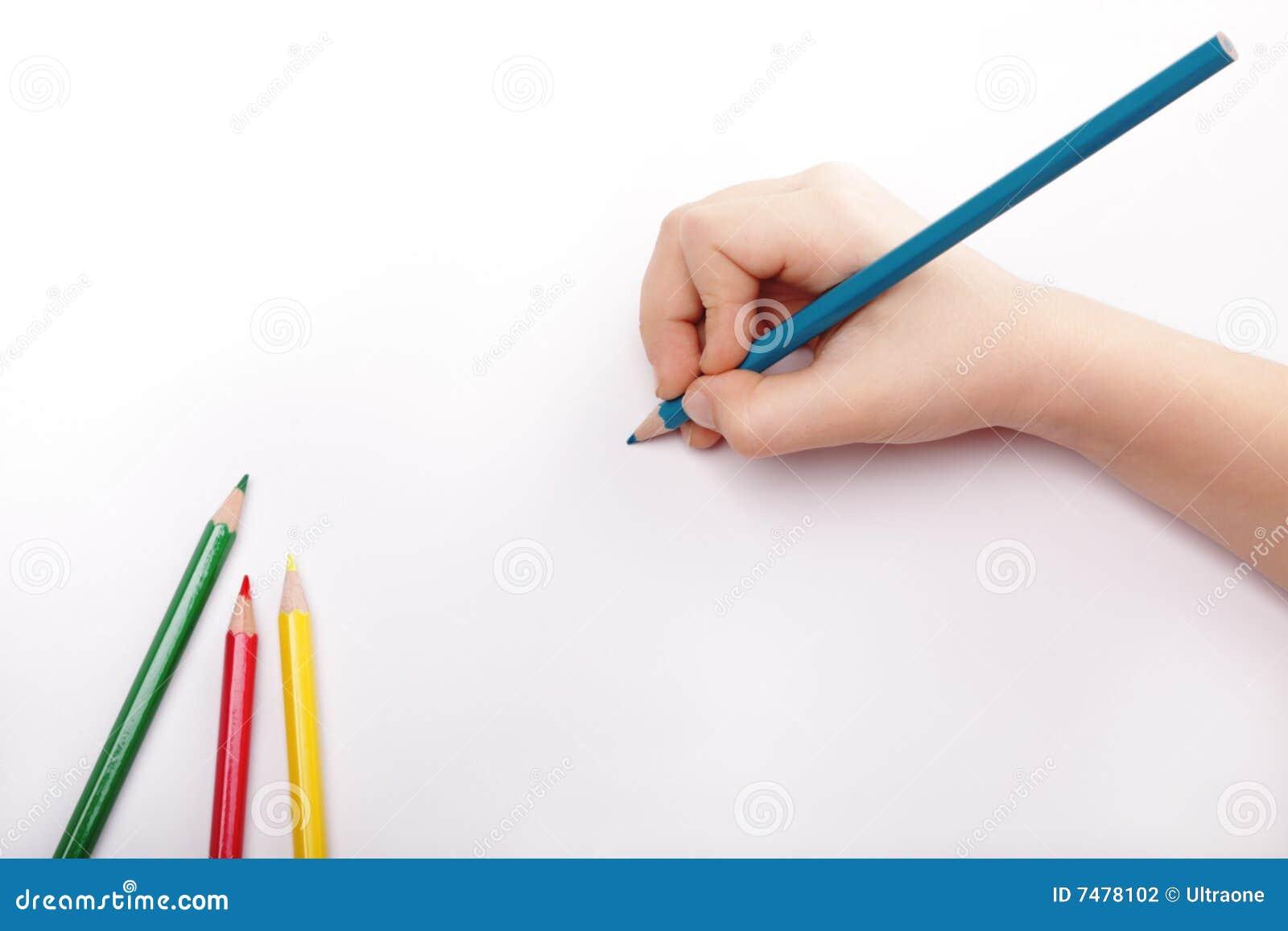 Det blåa barnet tecknar handblyertspennan