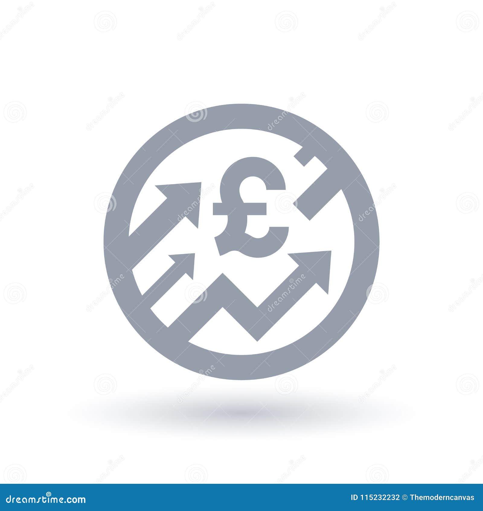 Det brittiska pundet med pilar up begreppssymbolen - ekonomisk tillväxtsymb