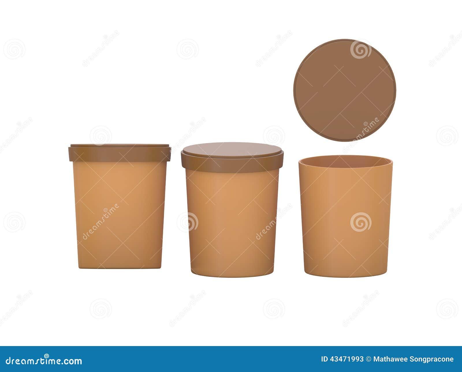 Det bruna mellanrumet badar den plast- behållaren för mat som förpackar med urklippet
