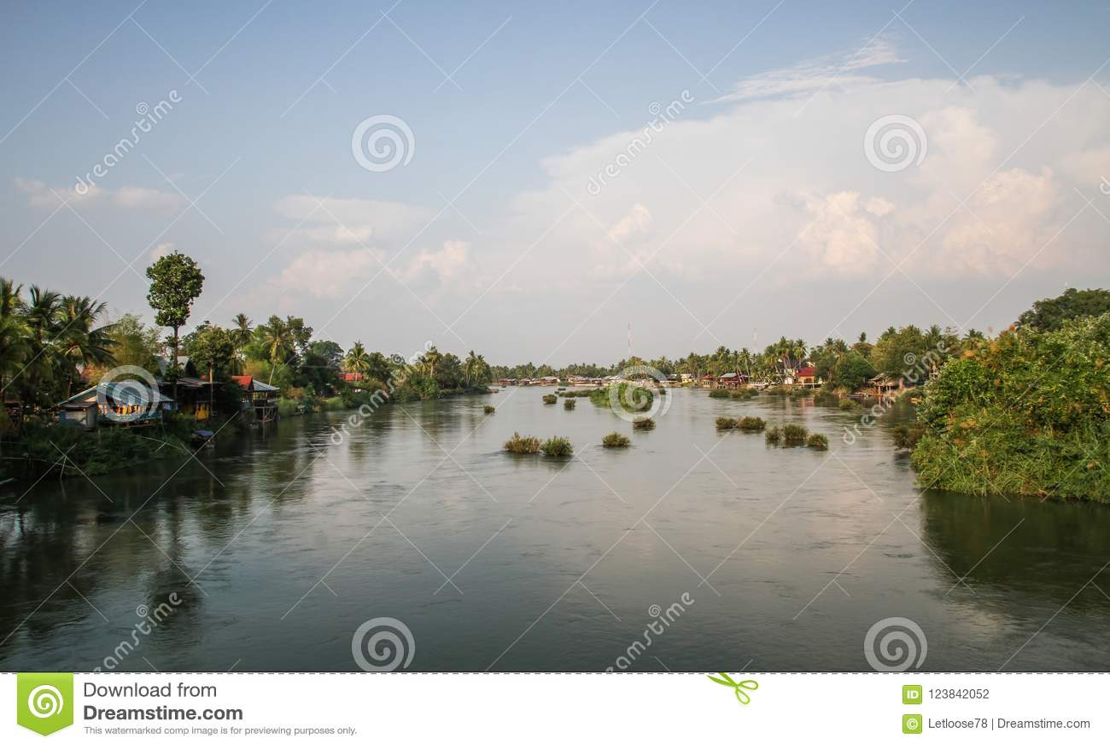 Det di Don al tramonto, si Phan Don, provincia di Champasak, Laos