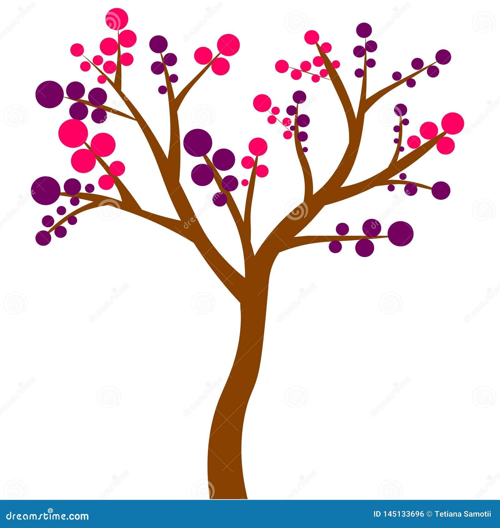 Det färgrika lövfällande trädet med höst färgade tjänstledigheter