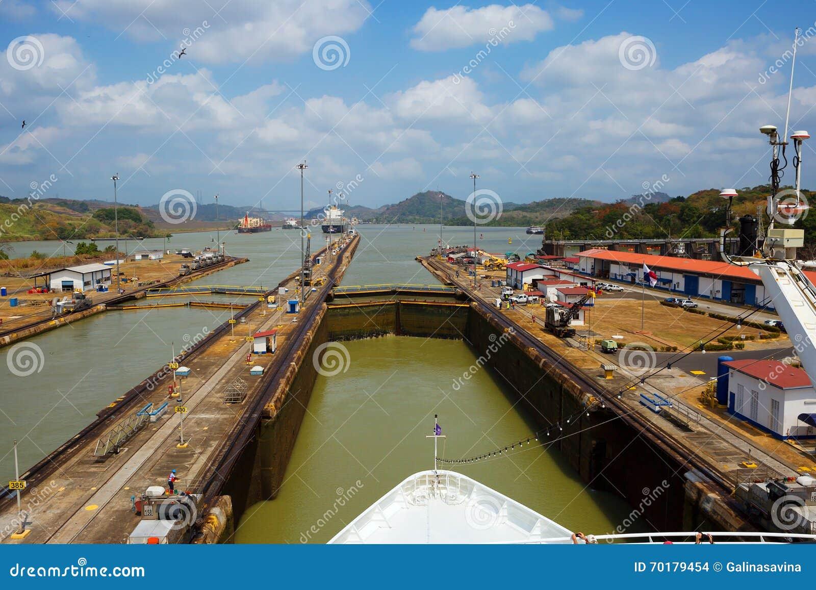Det första låset av den Panama kanalen från Stilla havet