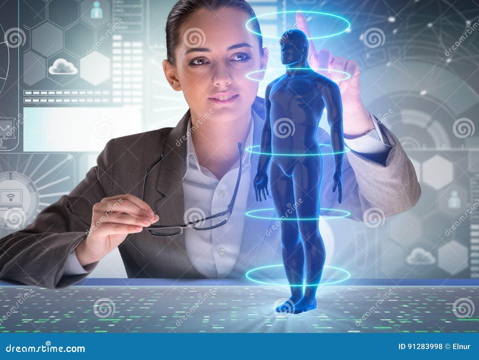Det futuristiska begreppet för avlägsen diagnostik med affärskvinnan