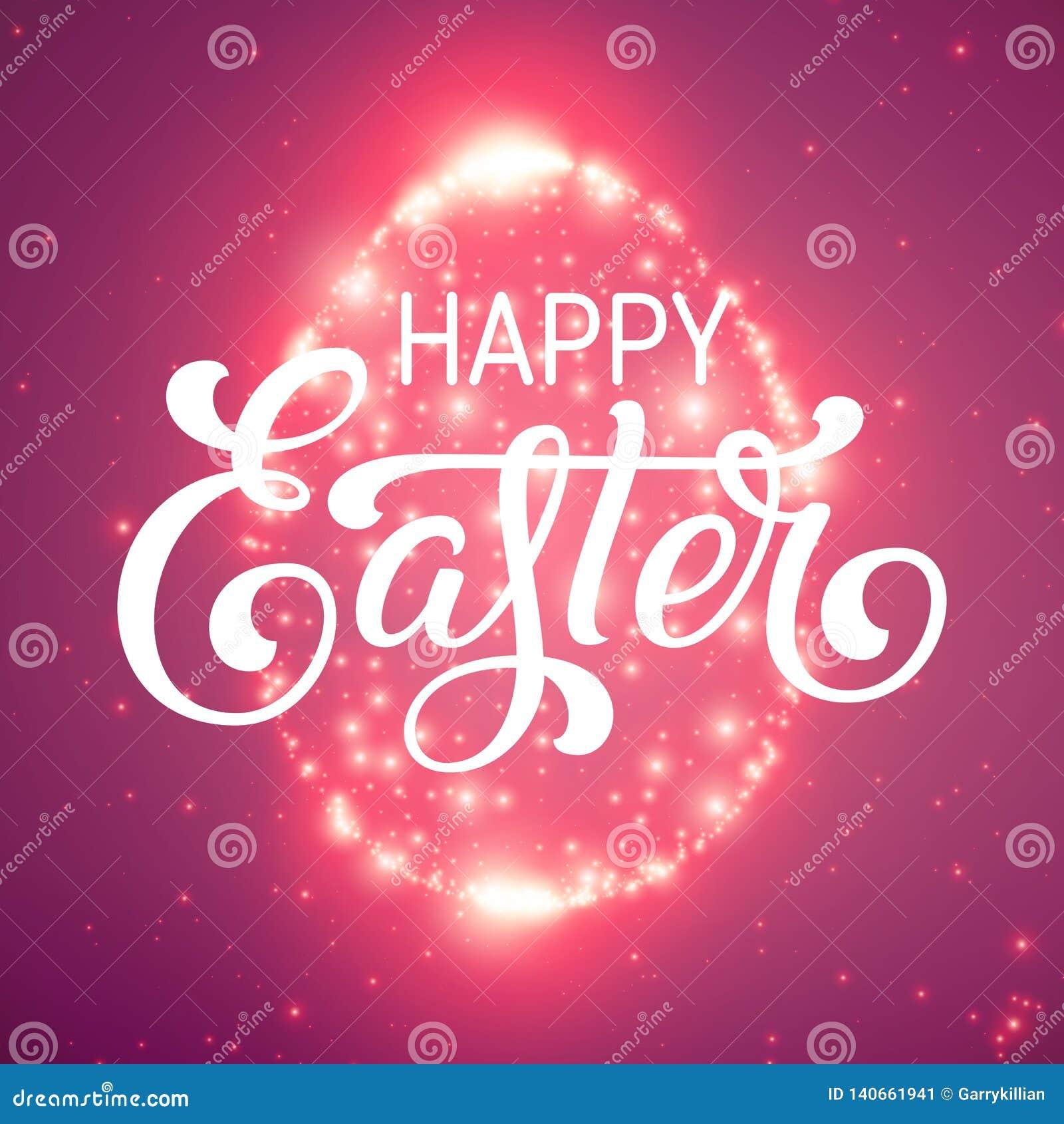 Det glänsande ägget för påsk av glödande punkter Moussera ägget på färgrik violett bakgrund med mycket små signalljus och härligt