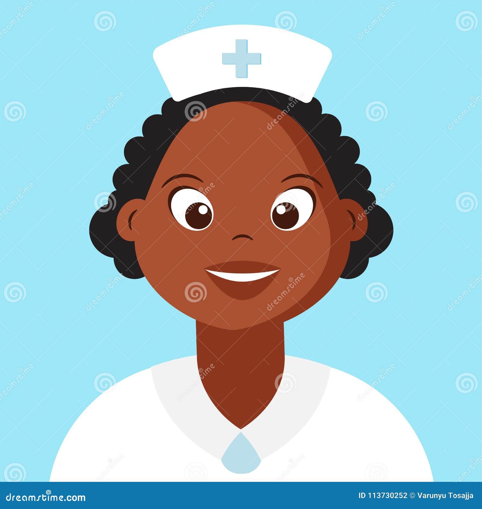 Det gulliga sjuksköterskaSmiling Cartoon teckenet, mörker flådde folk,