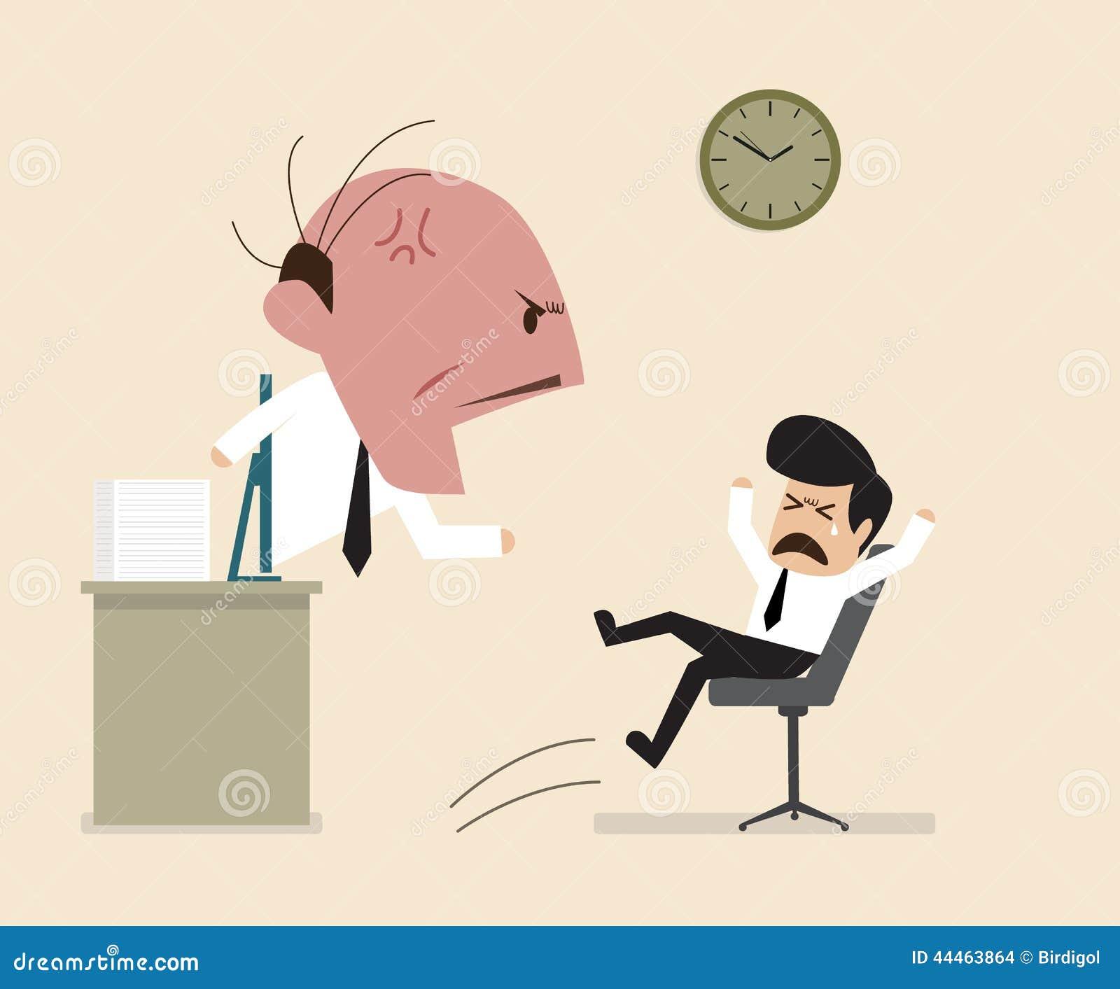 Det ilskna framstickandet ropar till hans anställd via online-anslutning