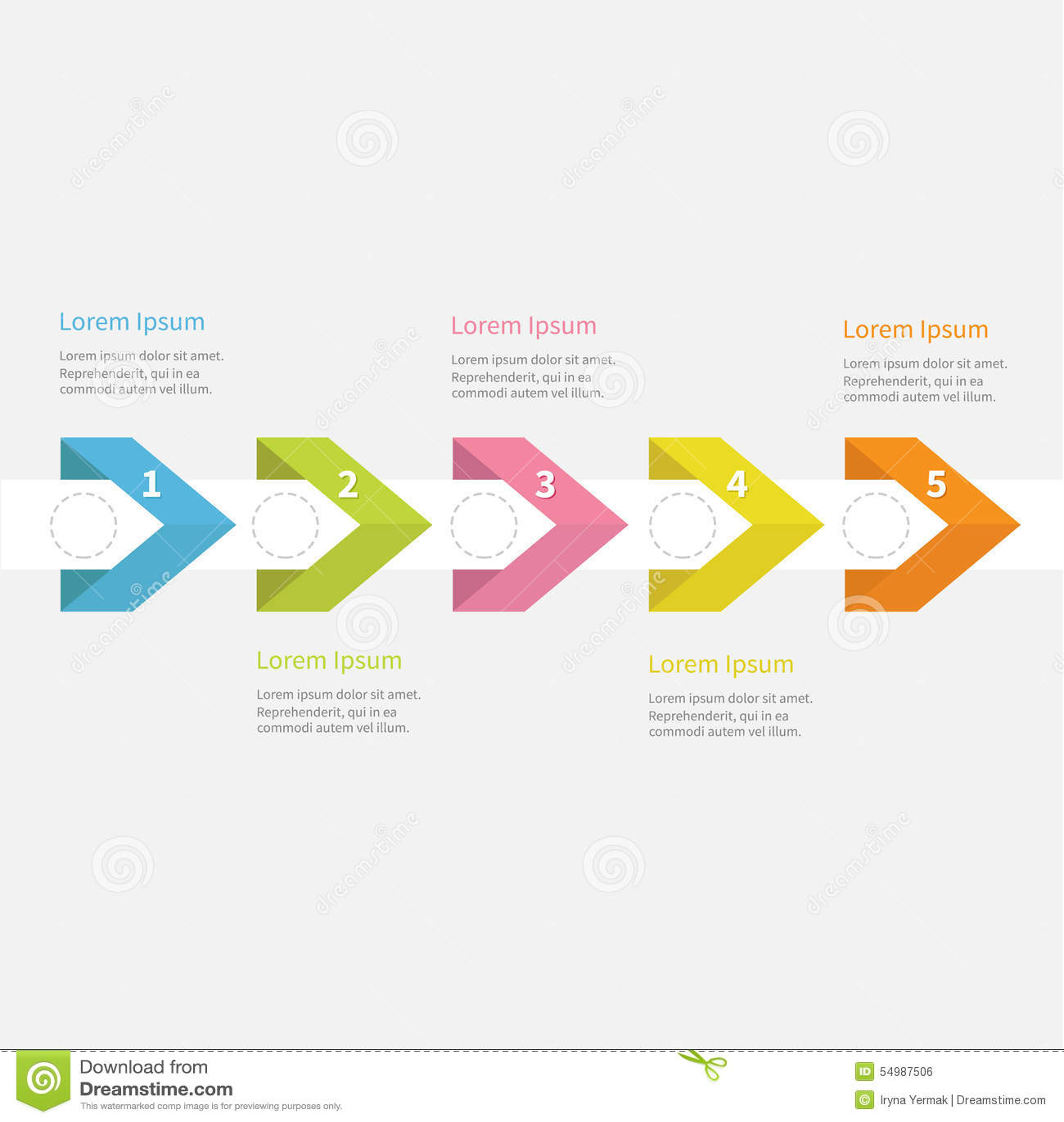 Det Infographic fem momentet med bandpilen rusade cirkeln och text mall Timelinelägenhetdesign