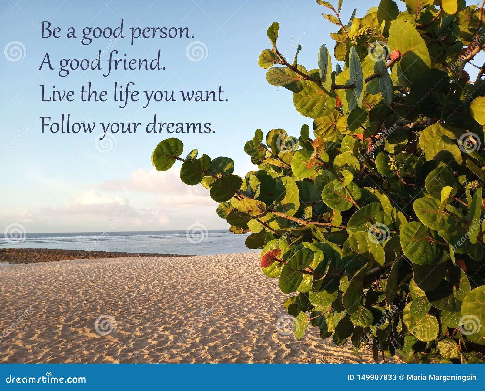 Det inspirerande citationstecknet är en bra person En bra v?n Bo livet som du önskar dr?mmar f?ljer ditt Med den vita sandiga str