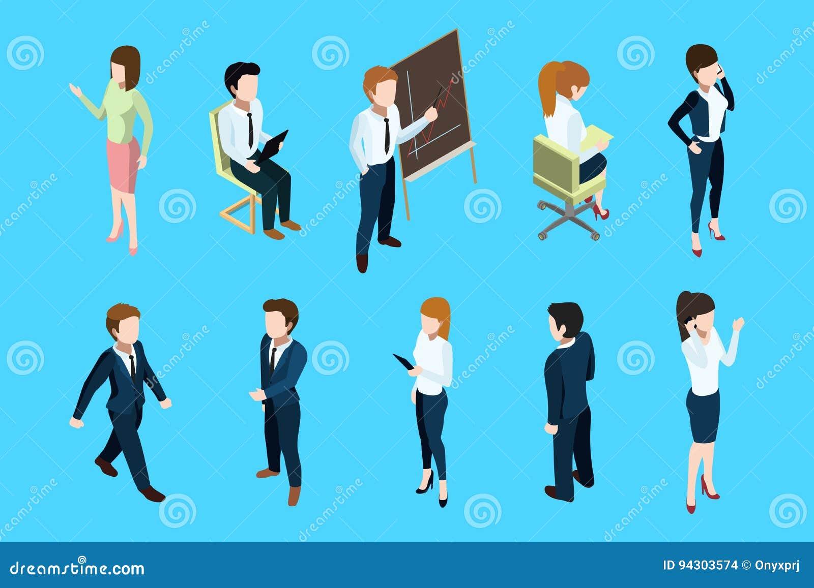 Det isometriska affärsfolket i olik handling poserar Stort framstickande och kontorslag göra sammandrag för knappfärger för bakgr