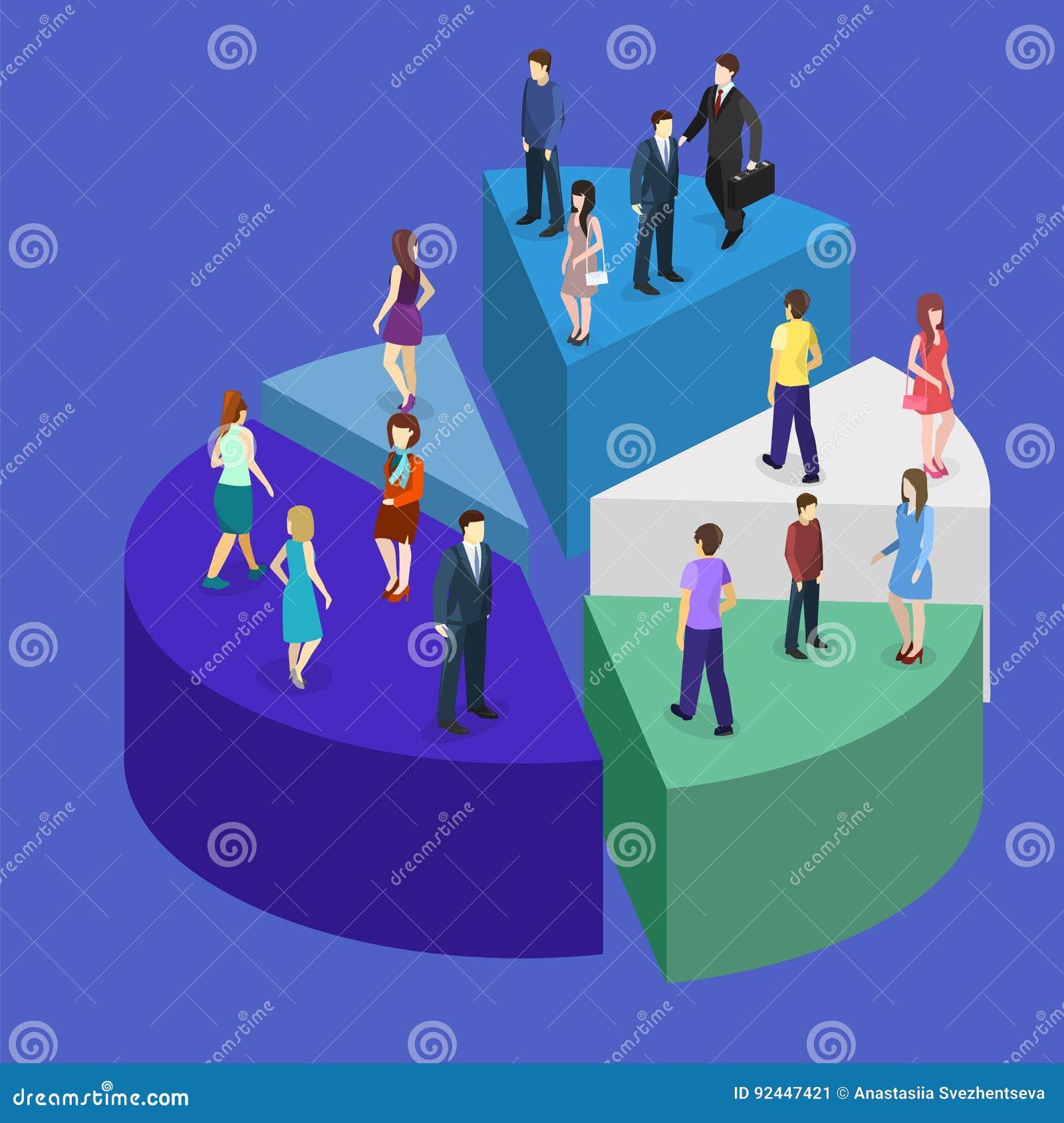 Det isometriska plana affärsfolket står på framgång för pajdiagram