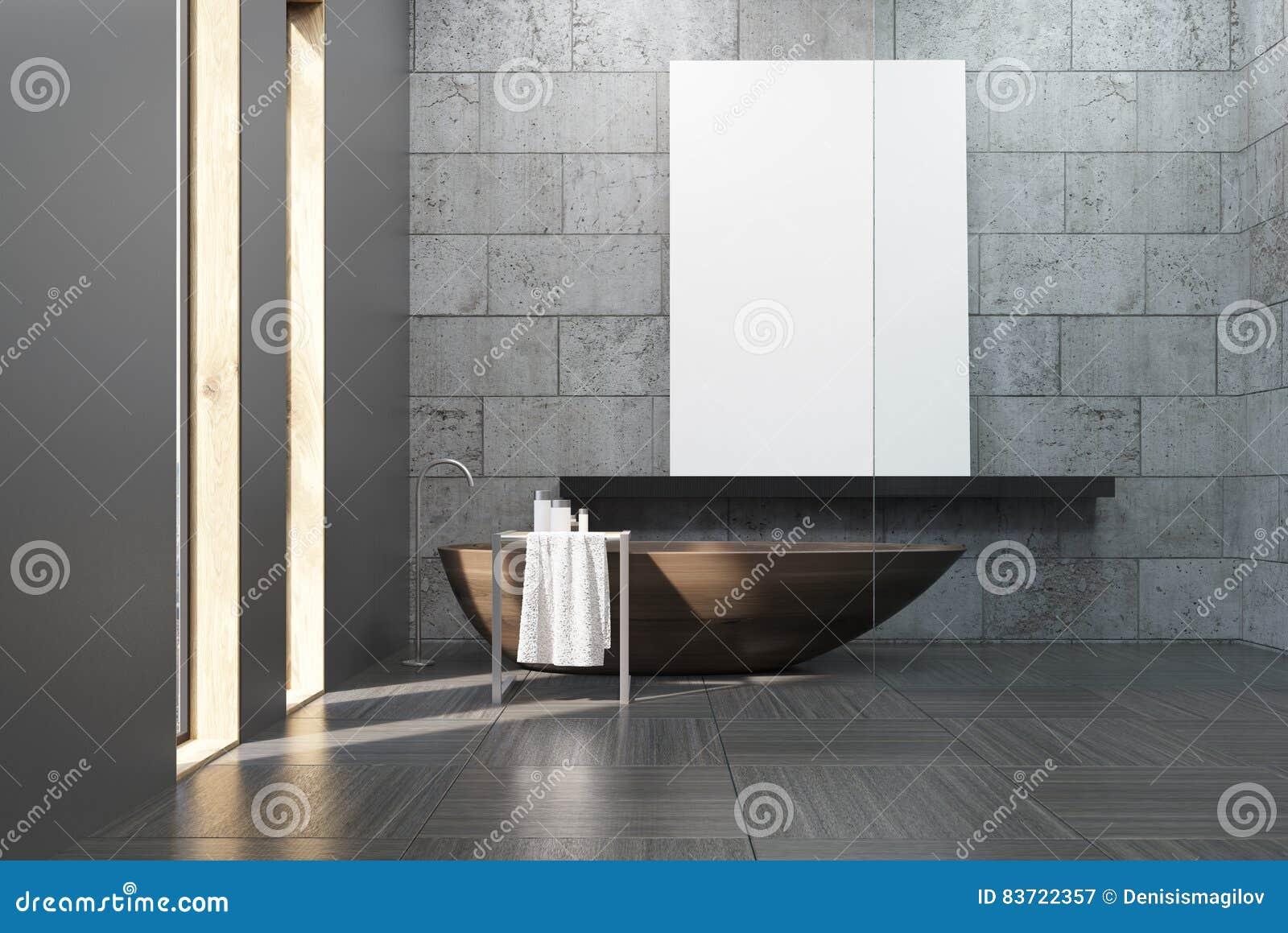 Det konkreta badrummet med trä badar och affischen