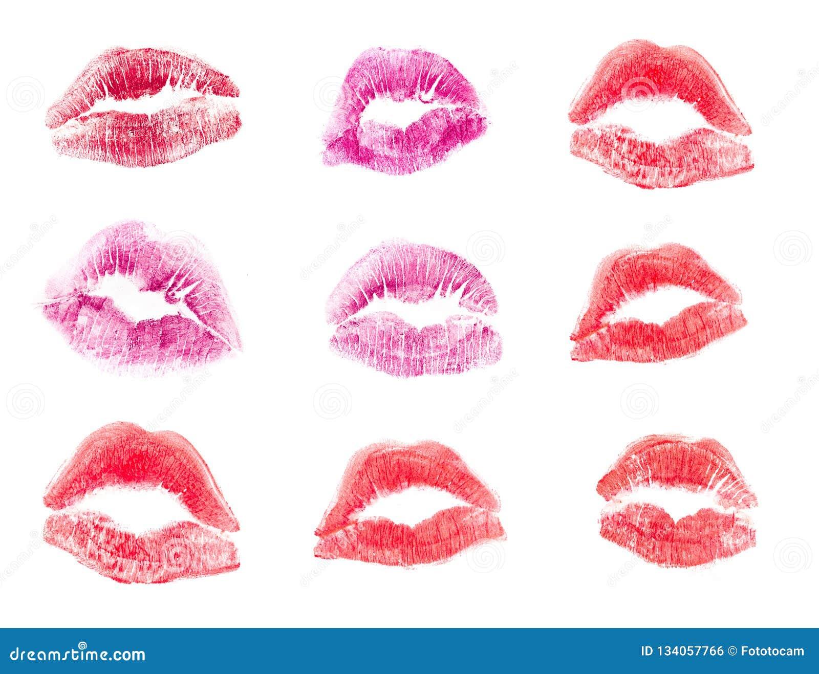 Det kvinnliga trycket för kantläppstiftkyssen ställde in för valentindagen och förälskelseillustrationen som isolerades på vit ba