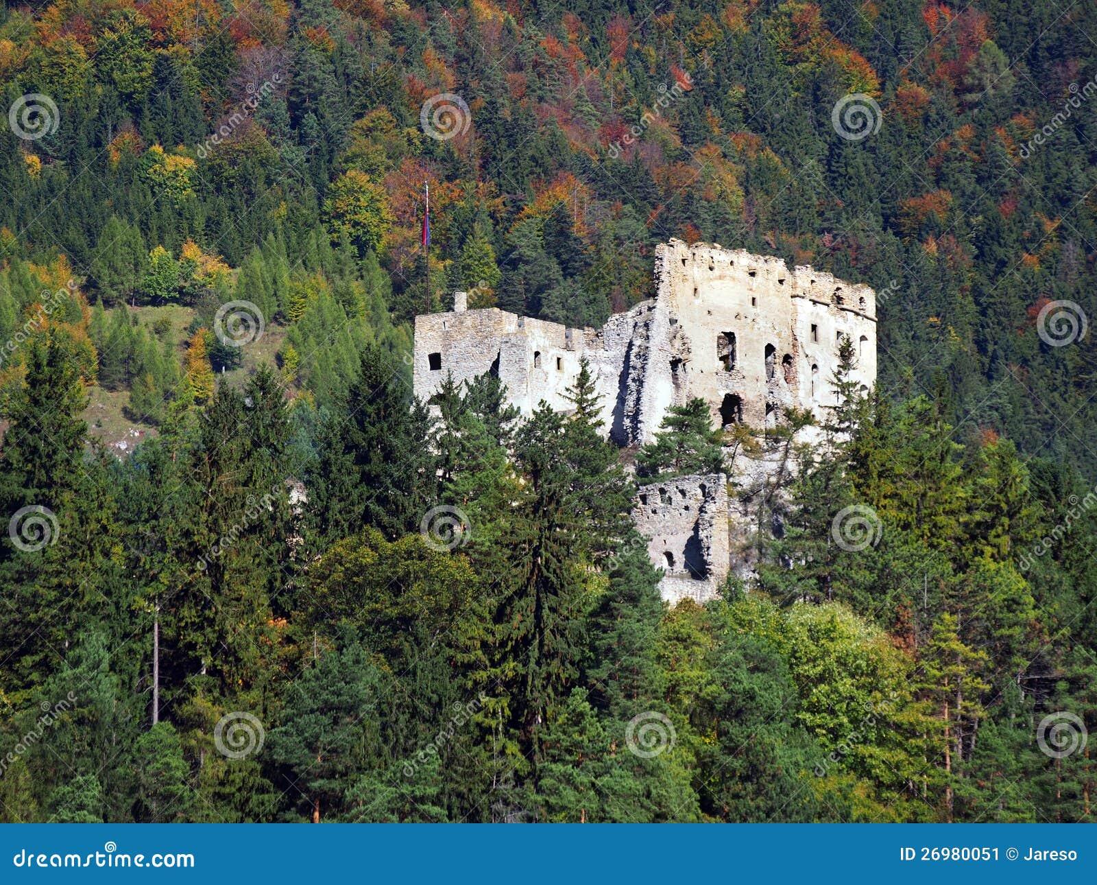 Det Likava slottet fördärvar gömt i skog