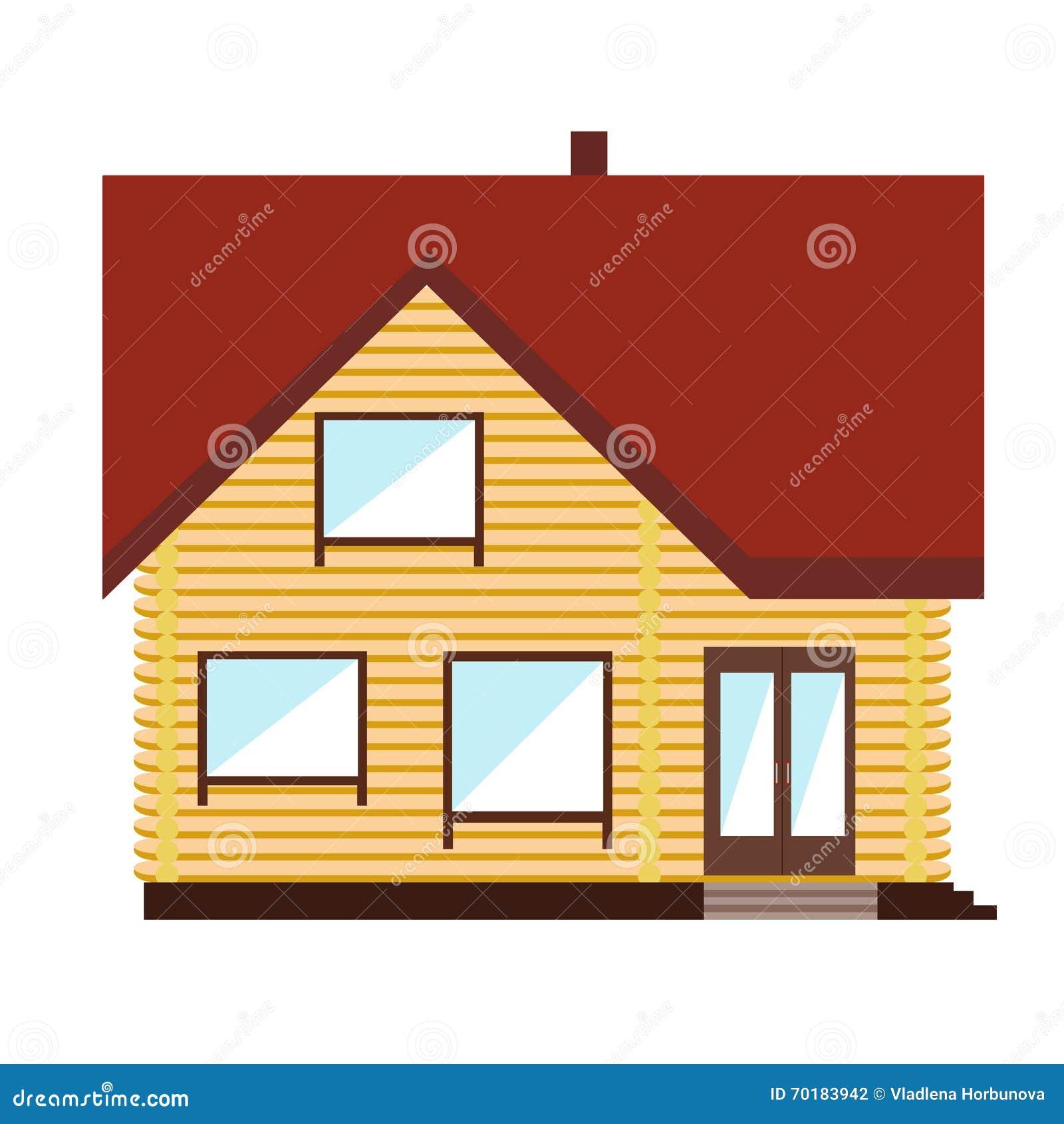 Det lilla orange huset på vit bakgrund