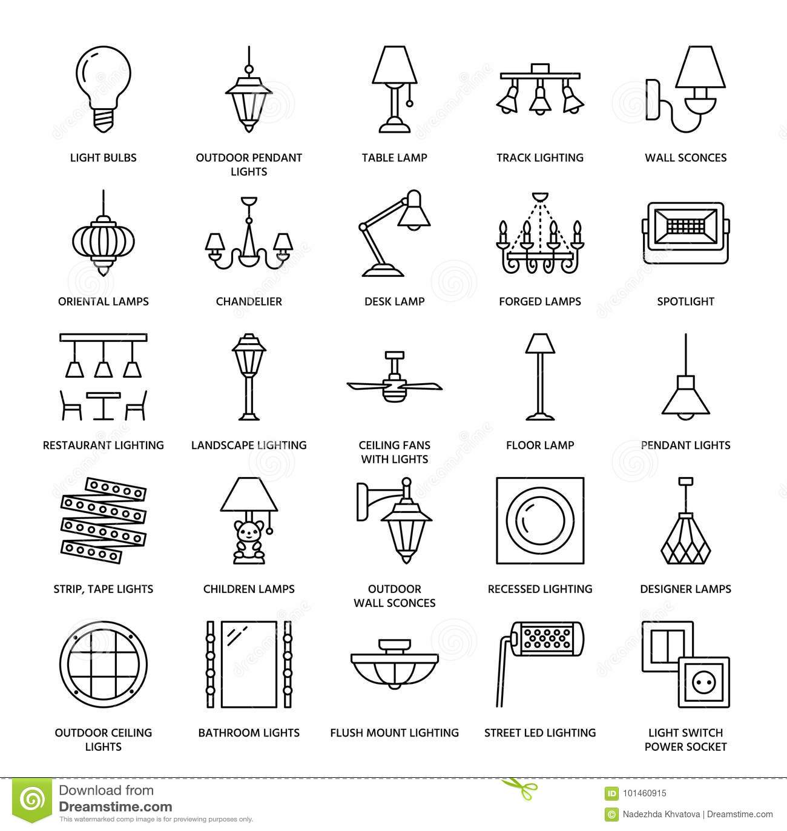 Det ljusa fasta tillbehöret, lampor sänker linjen symboler Hem- och utomhus- belysningsutrustning - ljuskrona, vägglampett, skriv