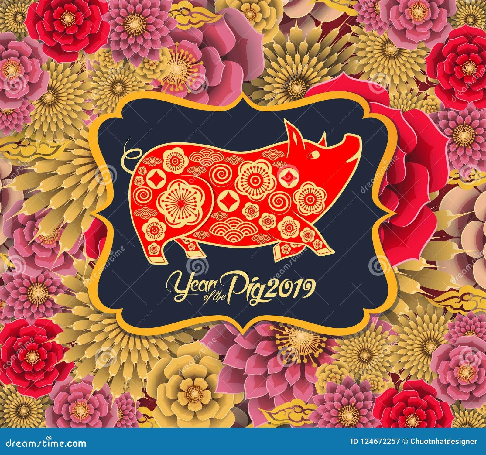 Det lyckliga kinesiska zodiaktecknet 2019 för det nya året med guldpapper klippte konsthantverkstil på färgbakgrund Lyckligt mede