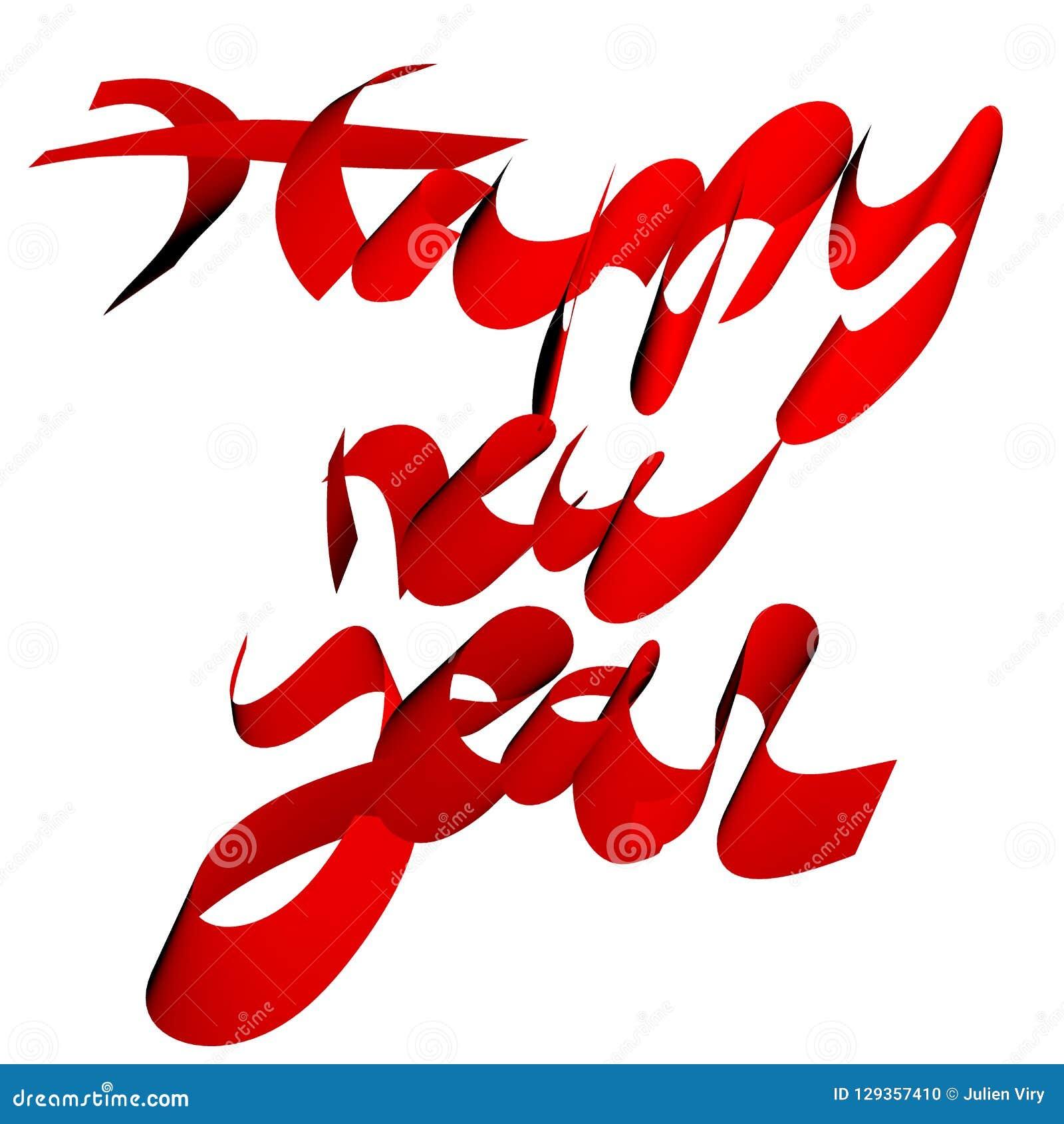 Det lyckliga nya året uttrycker handskrivet i den isolerade röda illustrationen 3D