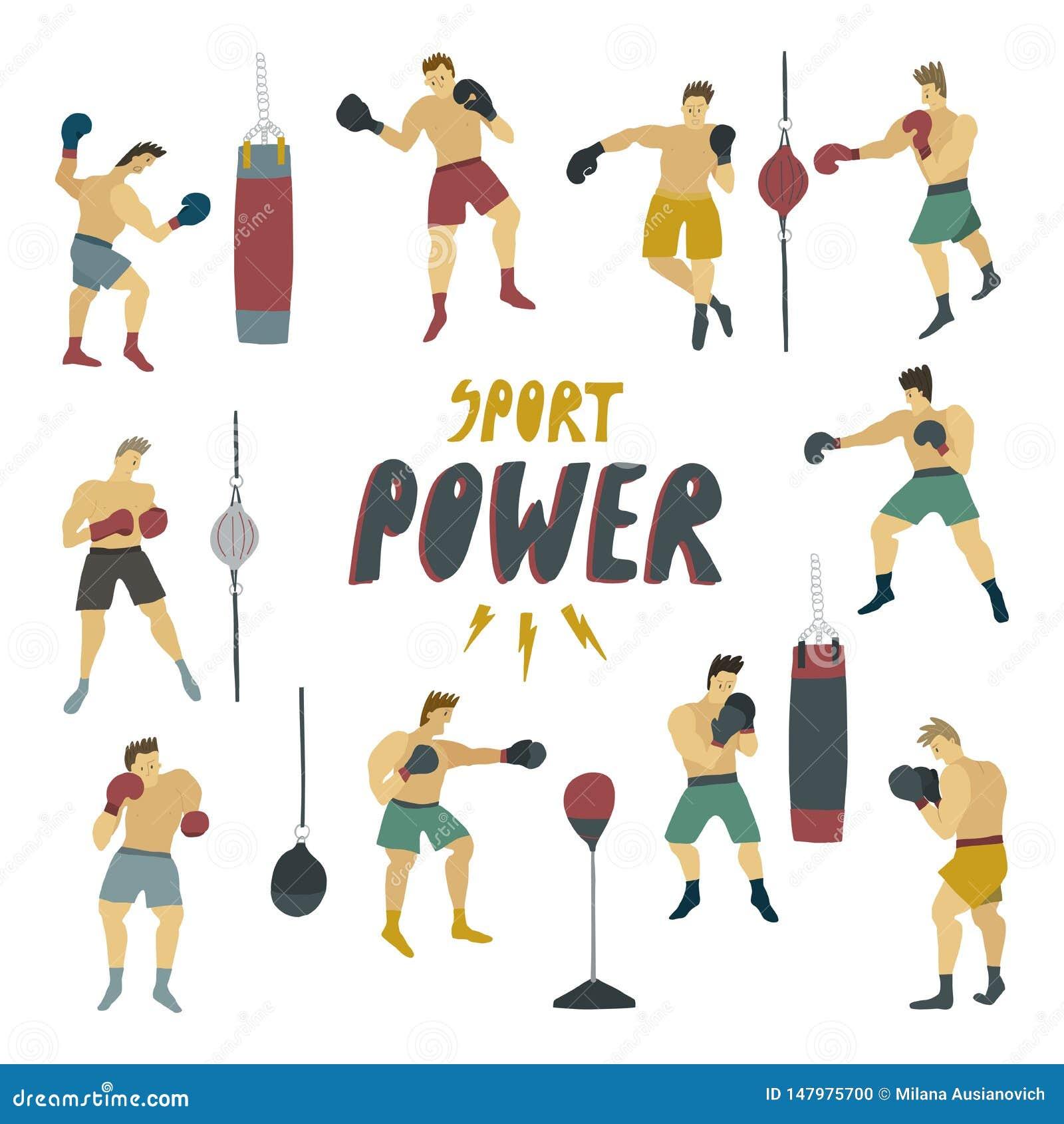 Det mänskliga diagramet i ställning för stark man för rörelse i olikt poserar med boxas handskar och klämmandepåsen