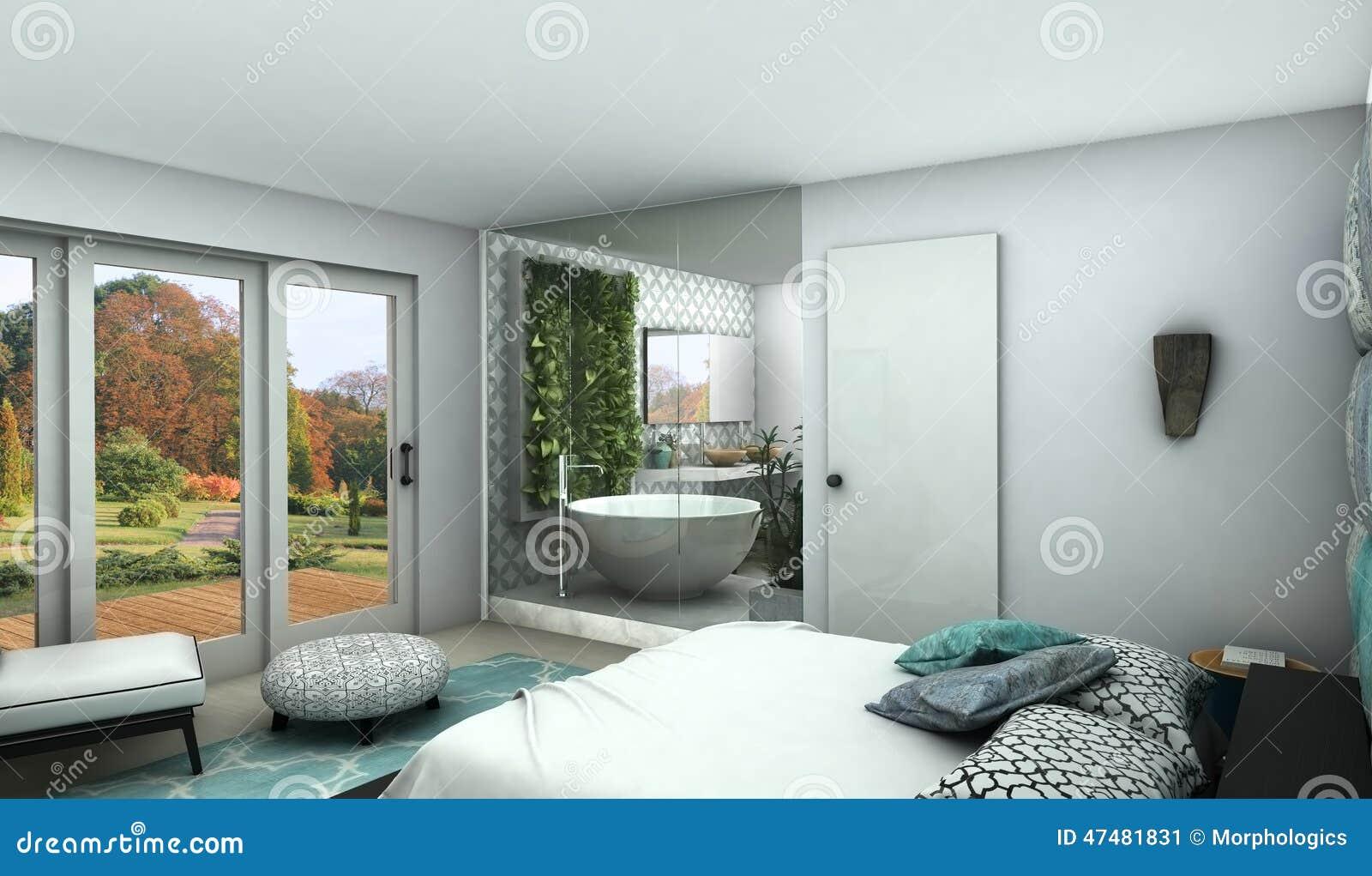 Det Moderna Sovrummet Med Ser Hoglasväggen Till Ett Badrum Stock Illustrationer - Bild: 47481831