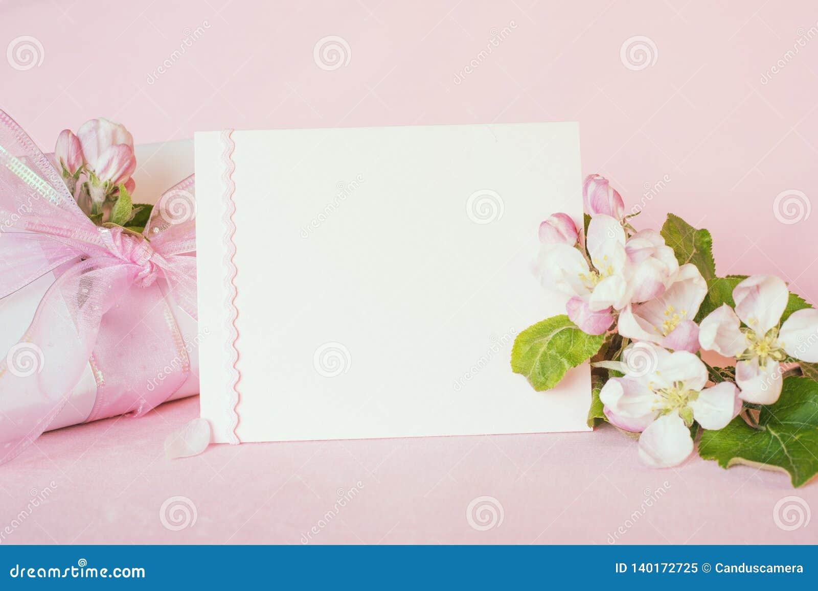 Det nätta pastellfärgade rosa banret med det tomma kortet och nya våräppleblomningar med den slågna in gåvan för moderdag, födels