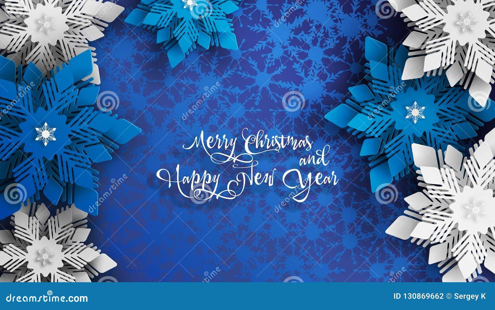 Det nya året 2019 och jul planlägger Pappers- klippta snöflingor för blå och vit jul