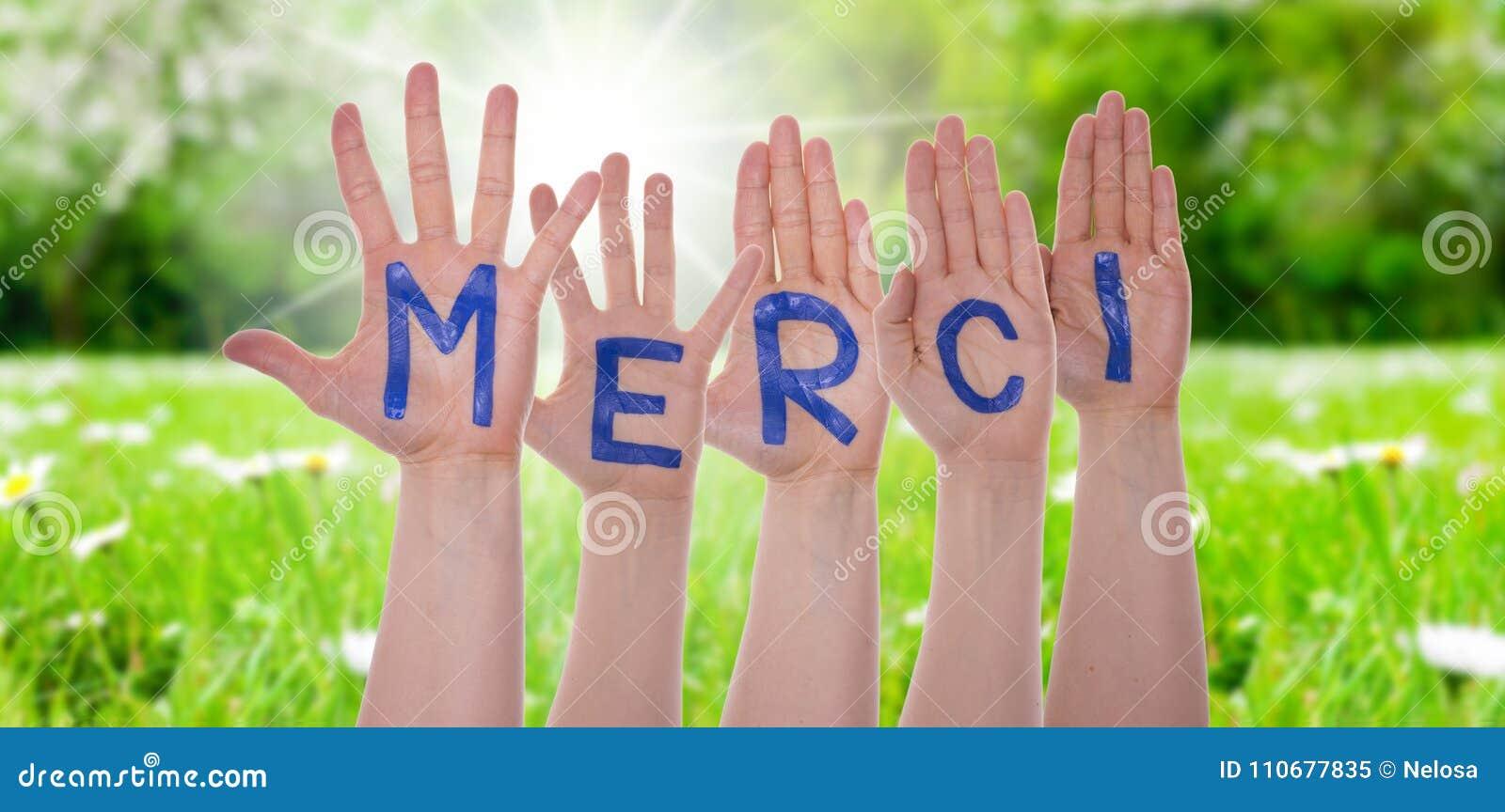 Det ordMerci hjälpmedlet tackar dig på händer, Sunny Meadow