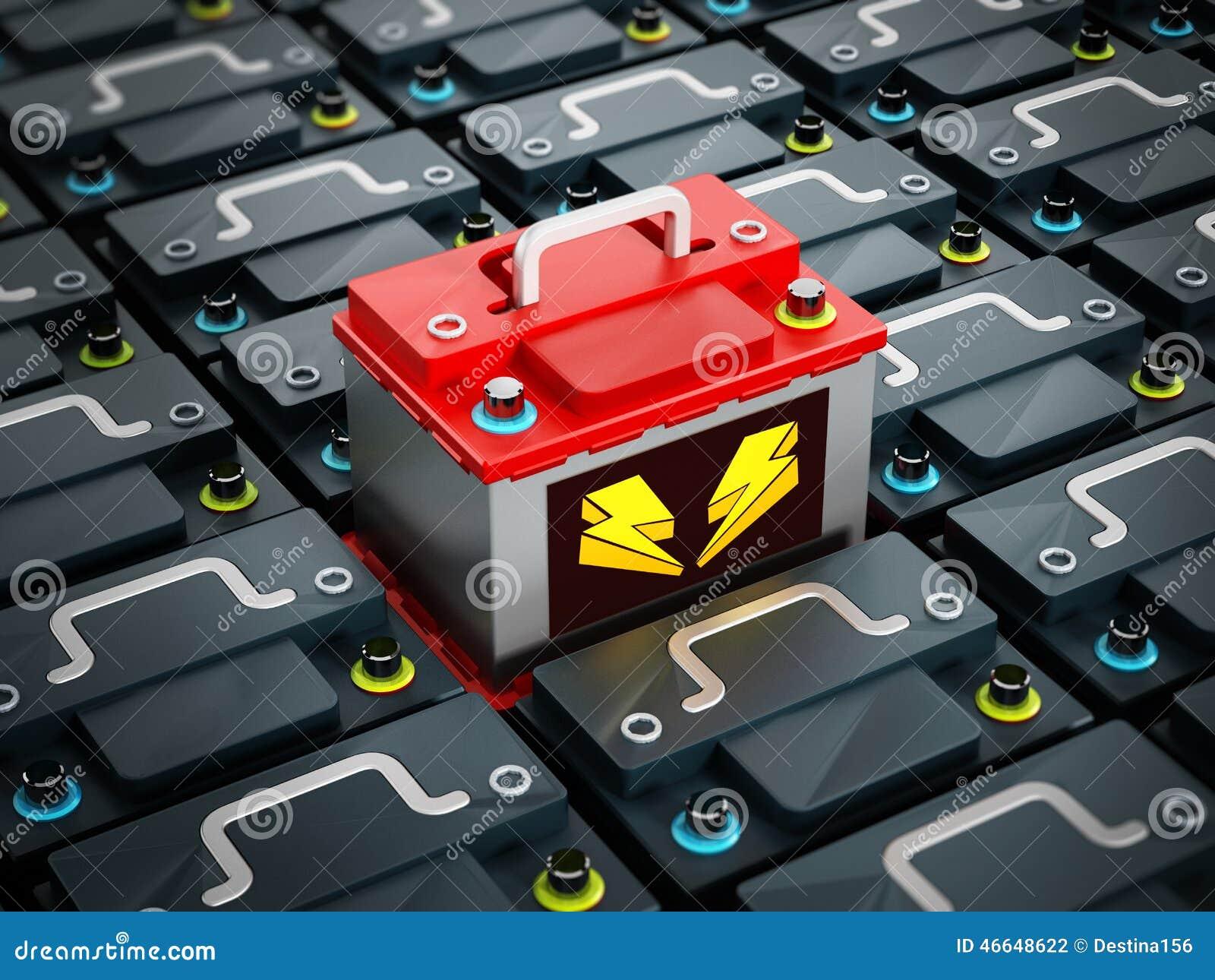 Det röda bilbatteriet står ut