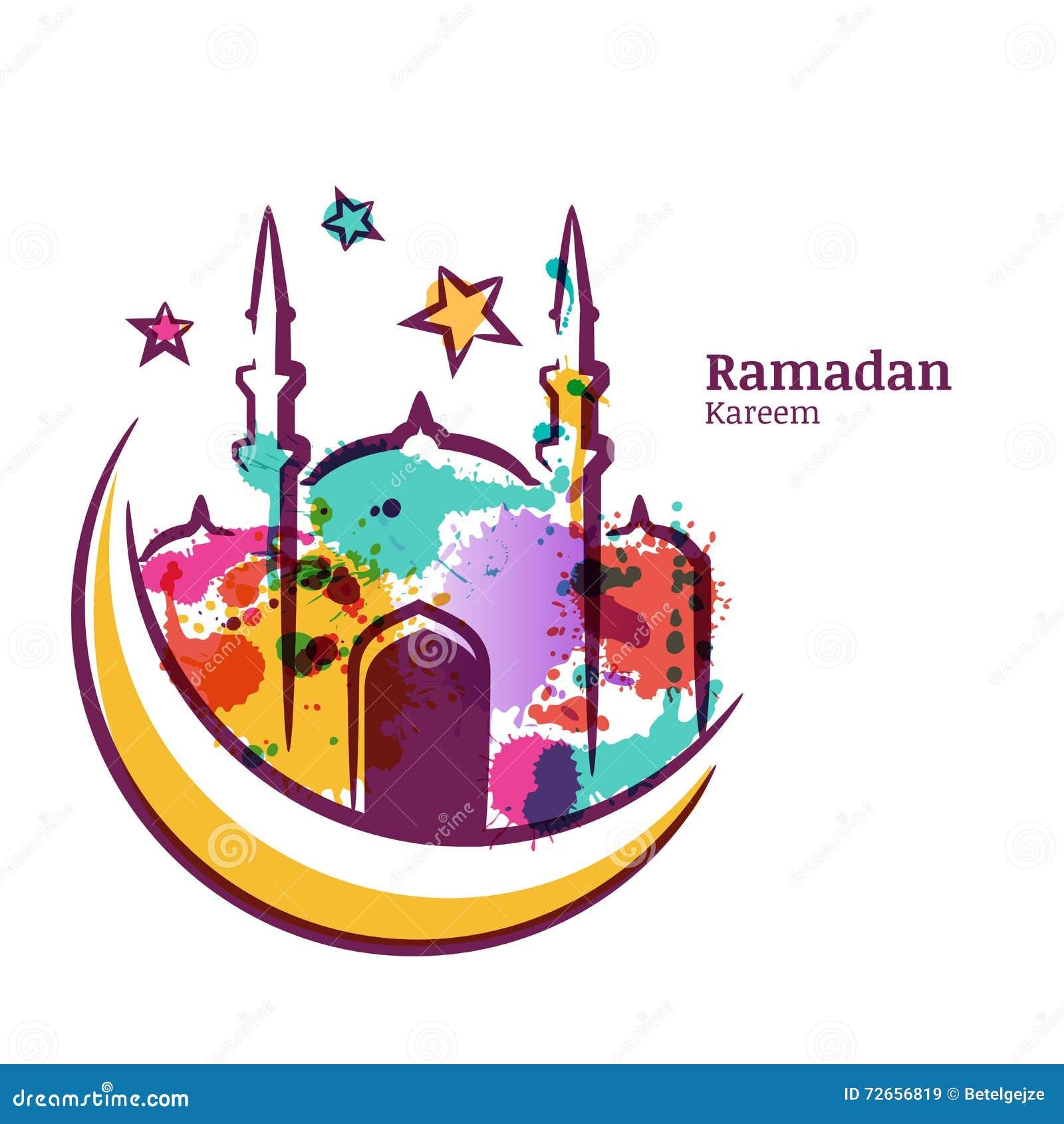Det Ramadan Kareem hälsningkortet med vattenfärgen isolerade illustrationen av den flerfärgade moskén på månen