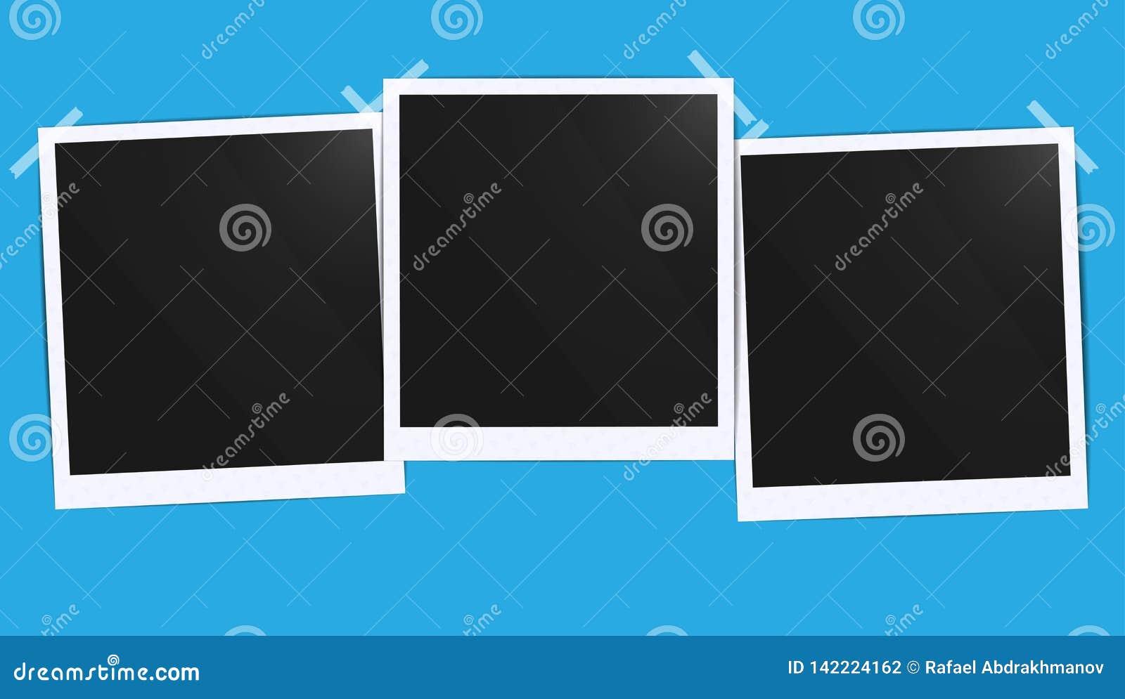 Det realistiska tomma fotosvartmellanrumet inramar grupperingsmodellen som limmas med bandet Gör det med illustrationen för lutni