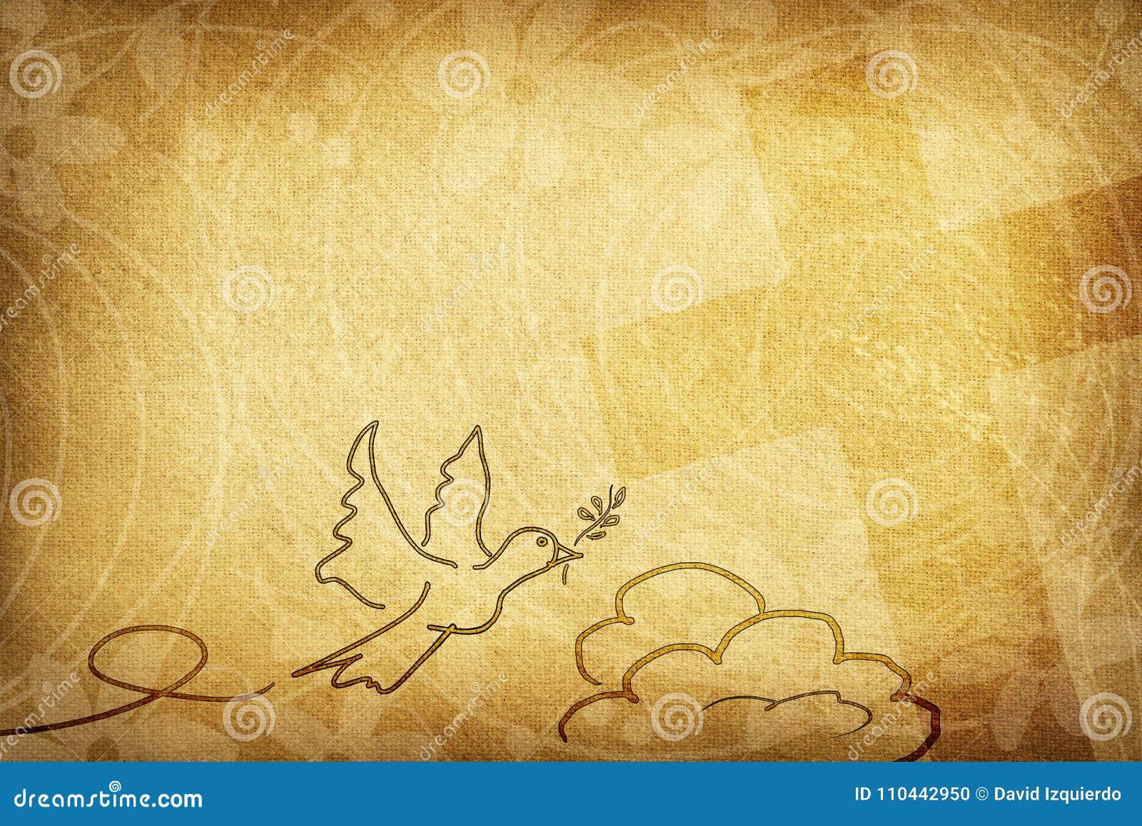 Det religiösa kortet med duvan med oliv fattar blommor och korset