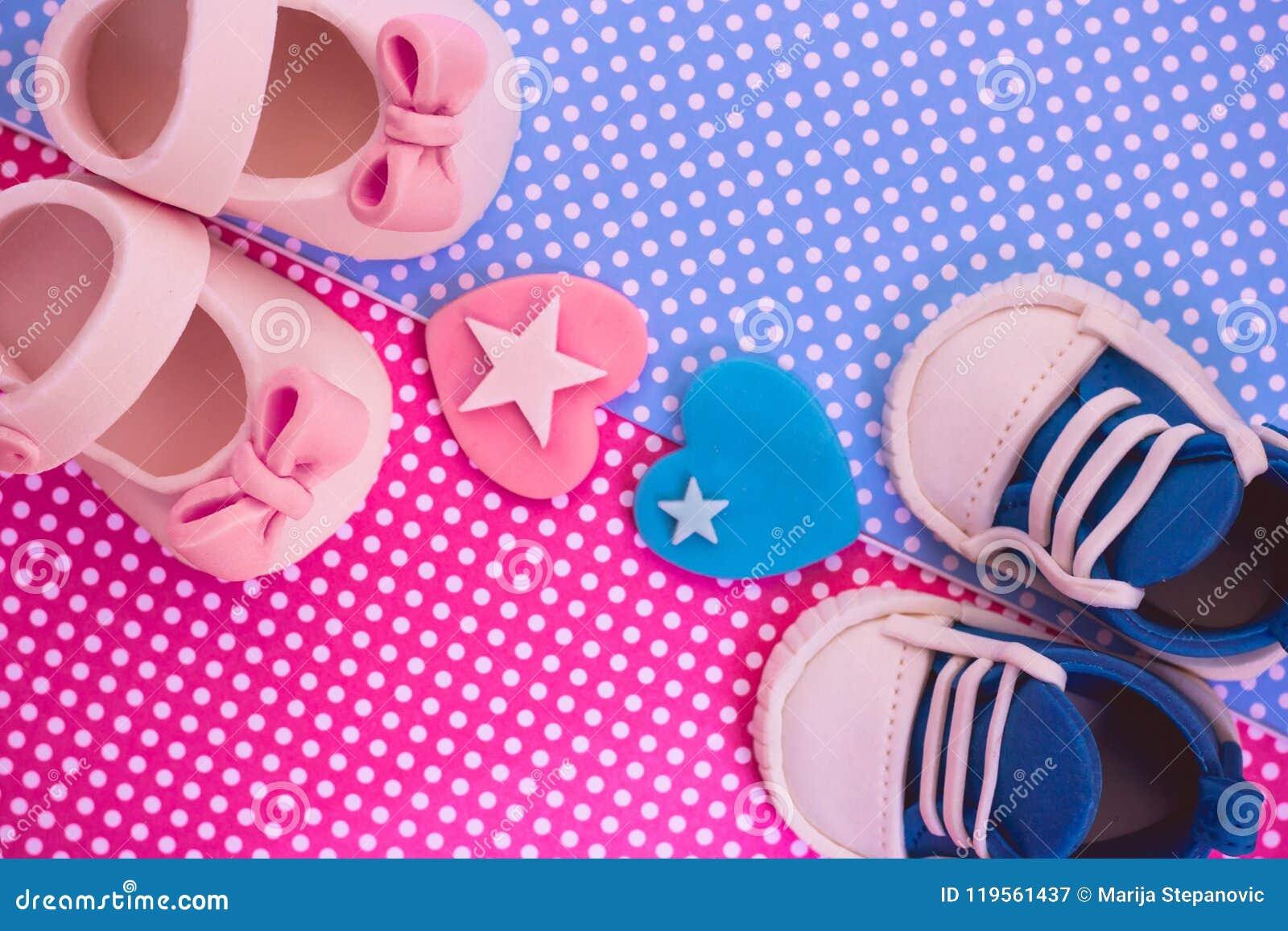 Det ` s en pojke och en flicka Kopplar samman bakgrund Baby showerinbjudan