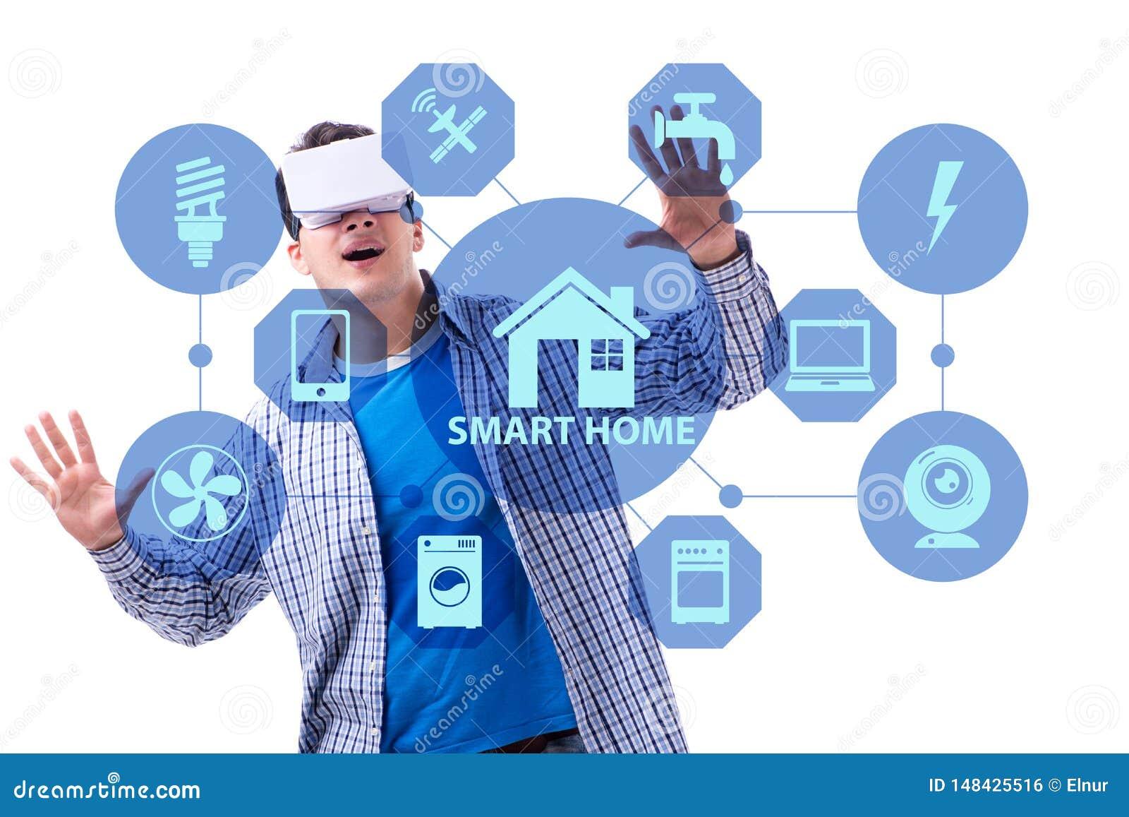 Det smarta hem- begreppet med apparater och anordningar