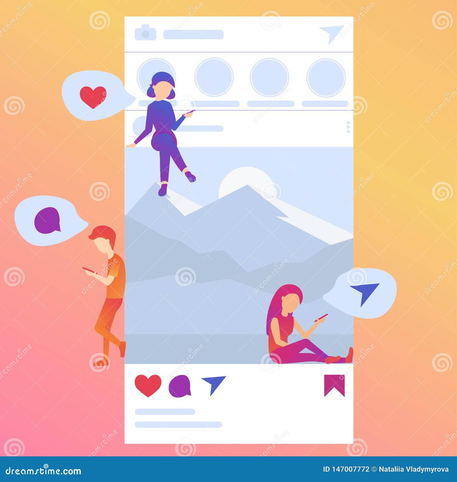 Det sociala massmedia knyter kontakt lyckligt folk på skärmskott