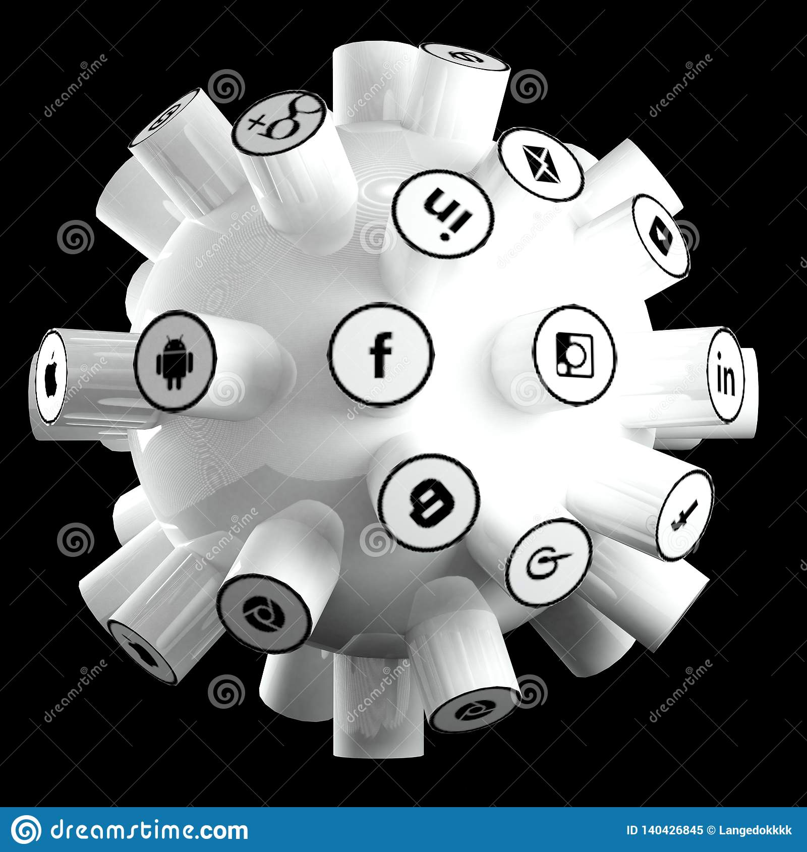 Det sociala massmedia, det sociala nätverket, internet förbinder illustrationen 3d