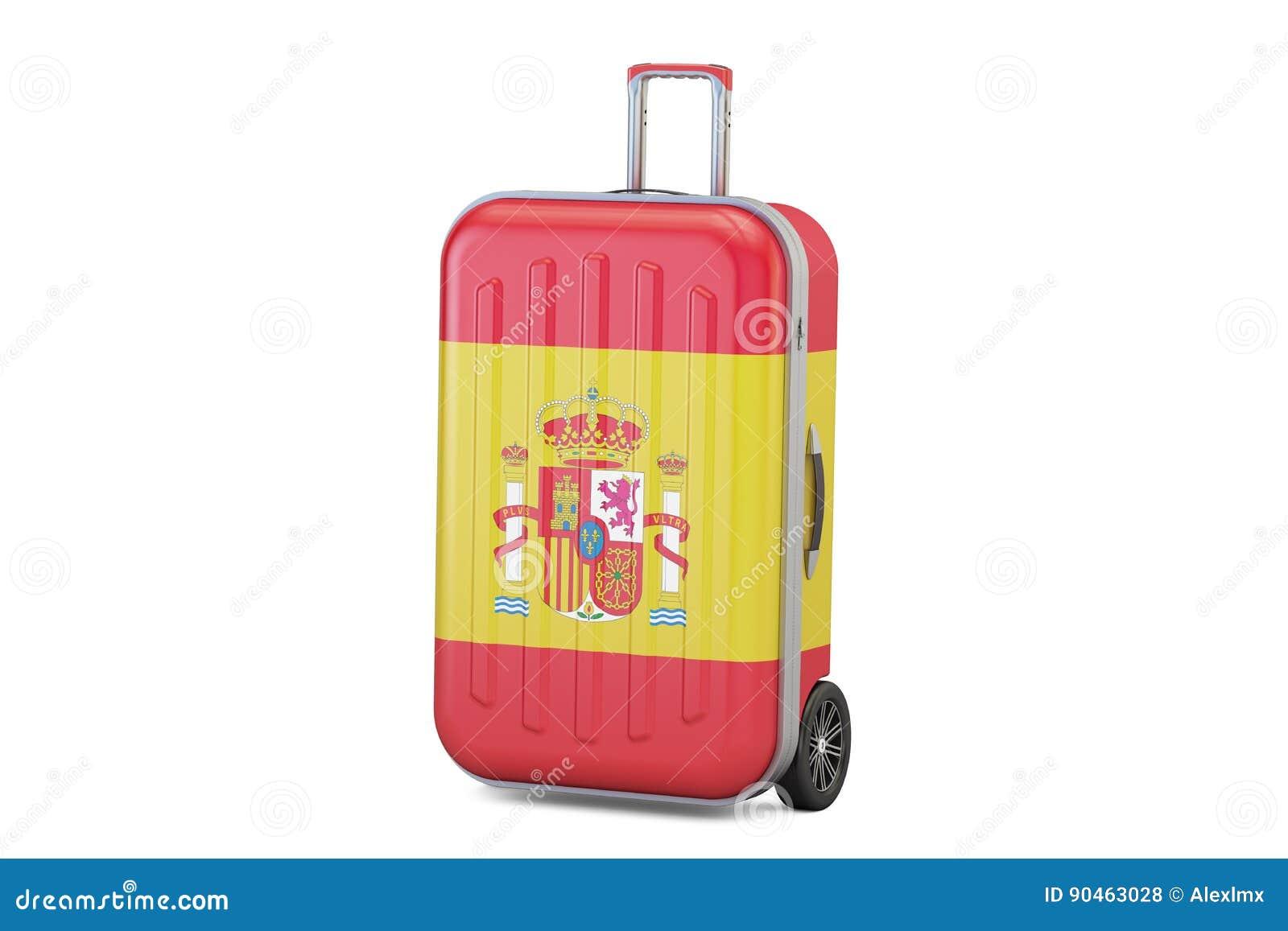 Det Spanien loppbegreppet, resväska med spanjor sjunker framförande 3d