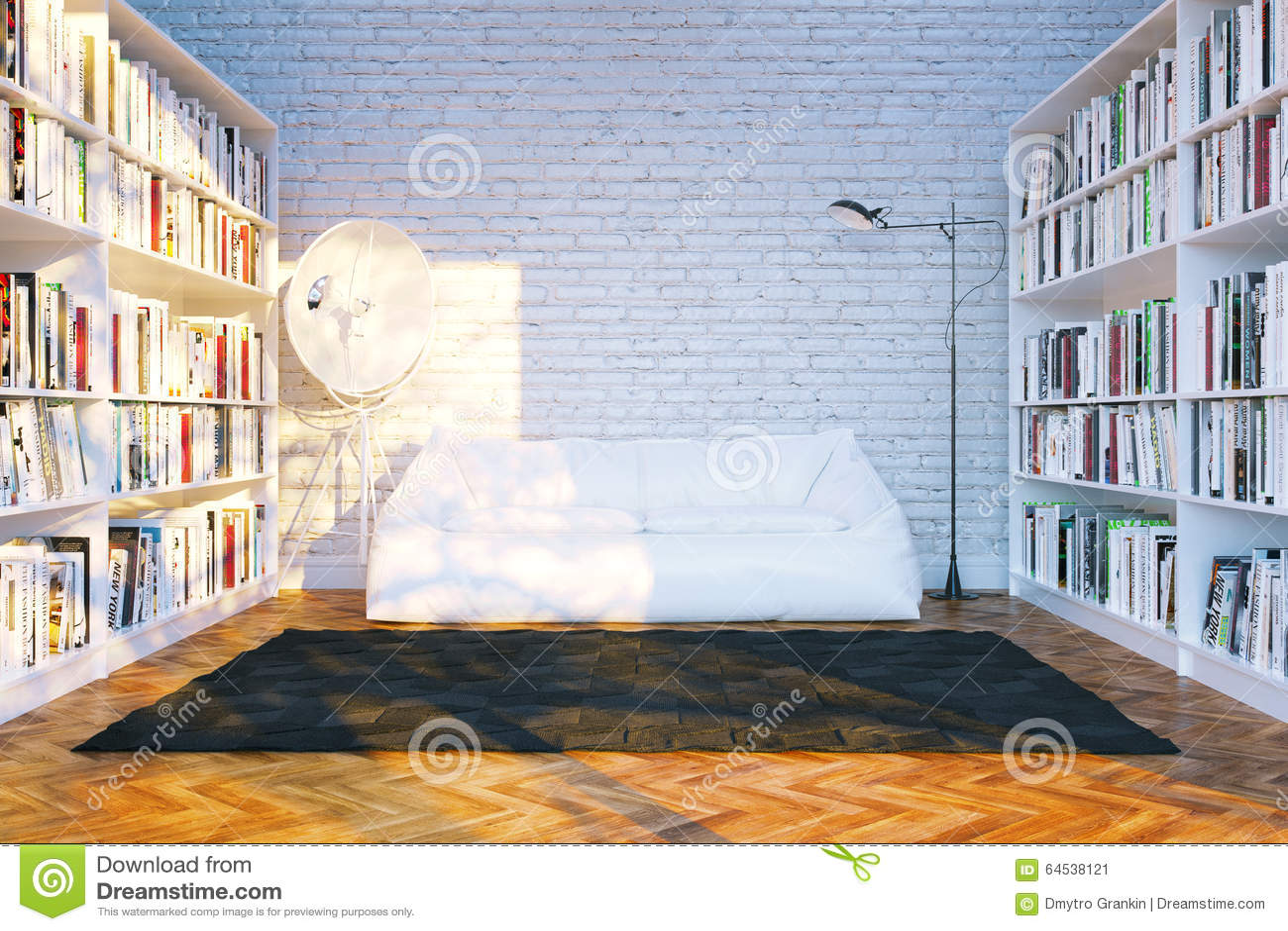Det stora arkivet bordlägger med många bokar i vit vardagsrum