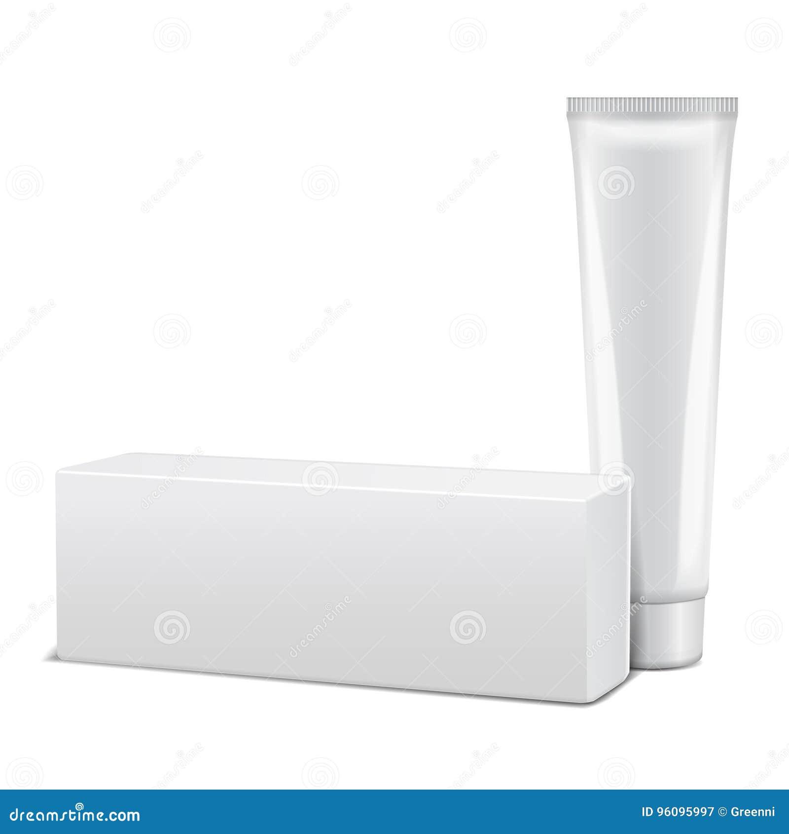 Det tomma plast- röret med den vita asken för medicin eller skönhetsmedel - laga mat med grädde, stelna, hudomsorg, tandkräm Förp