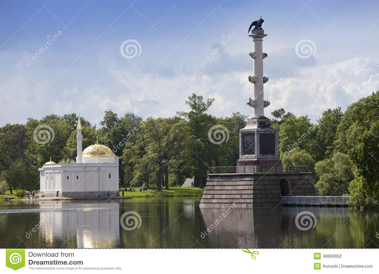 Det turkiska badet för för Chesme kolonn och paviljong 24 för petersburg för park för nobility för km för catherine besök för tsa