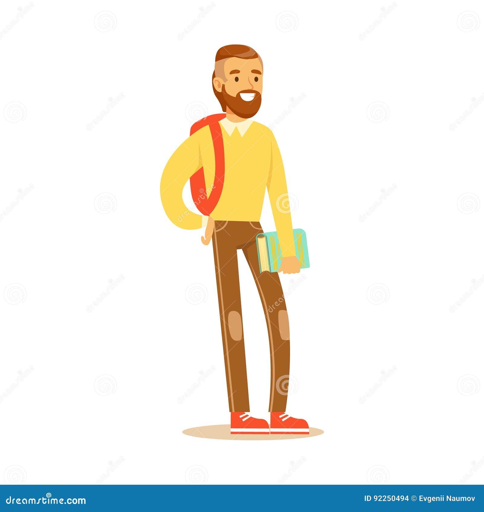 Det uppsökte barnet man i tillfällig kläder med ryggsäckanseende och innehavboken i hans hand Färgrik studentlivsstil