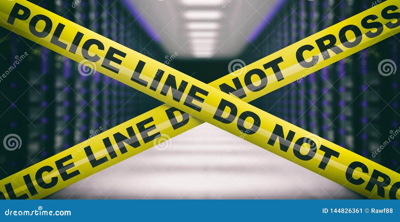 Det varnande gula bandet, text korsar inte, g?r suddig datorhallbakgrund illustration 3d