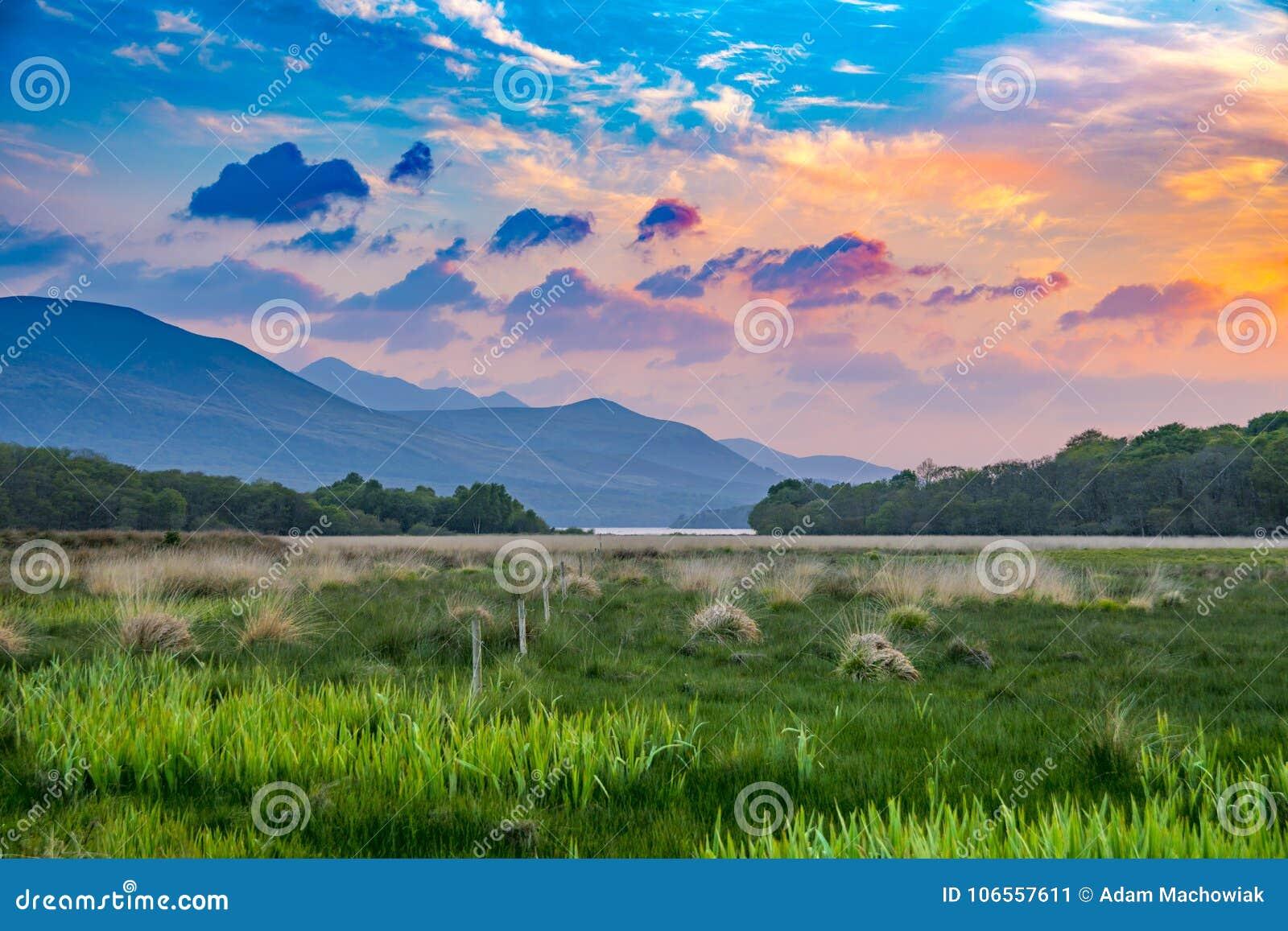 Det vibrerande och färgrika landskapet för bergskedjasolnedgångängen med grönt gräs och apelsinen fördunklar