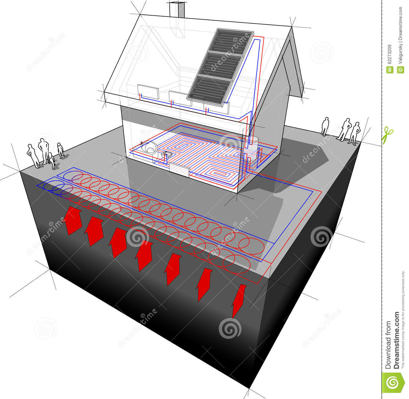 Detached house with geothermal source heat pump and solar for Geothermal house plans