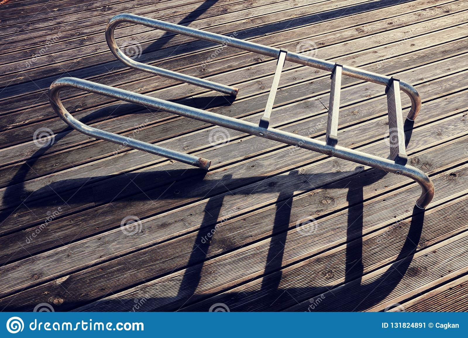 Detached Pool Ladder Stock Image Image Of Floor Object 131824891