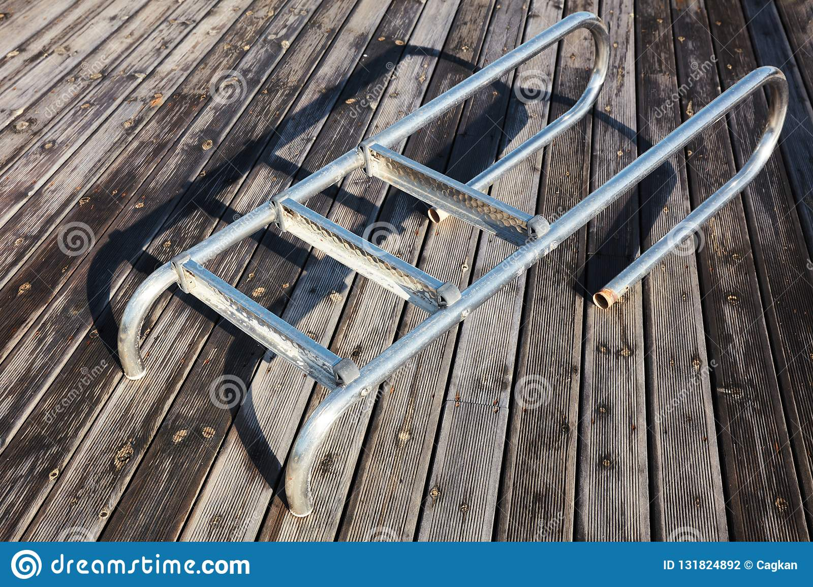 Detached Pool Ladder Stock Photo Image Of Deck Object 131824892