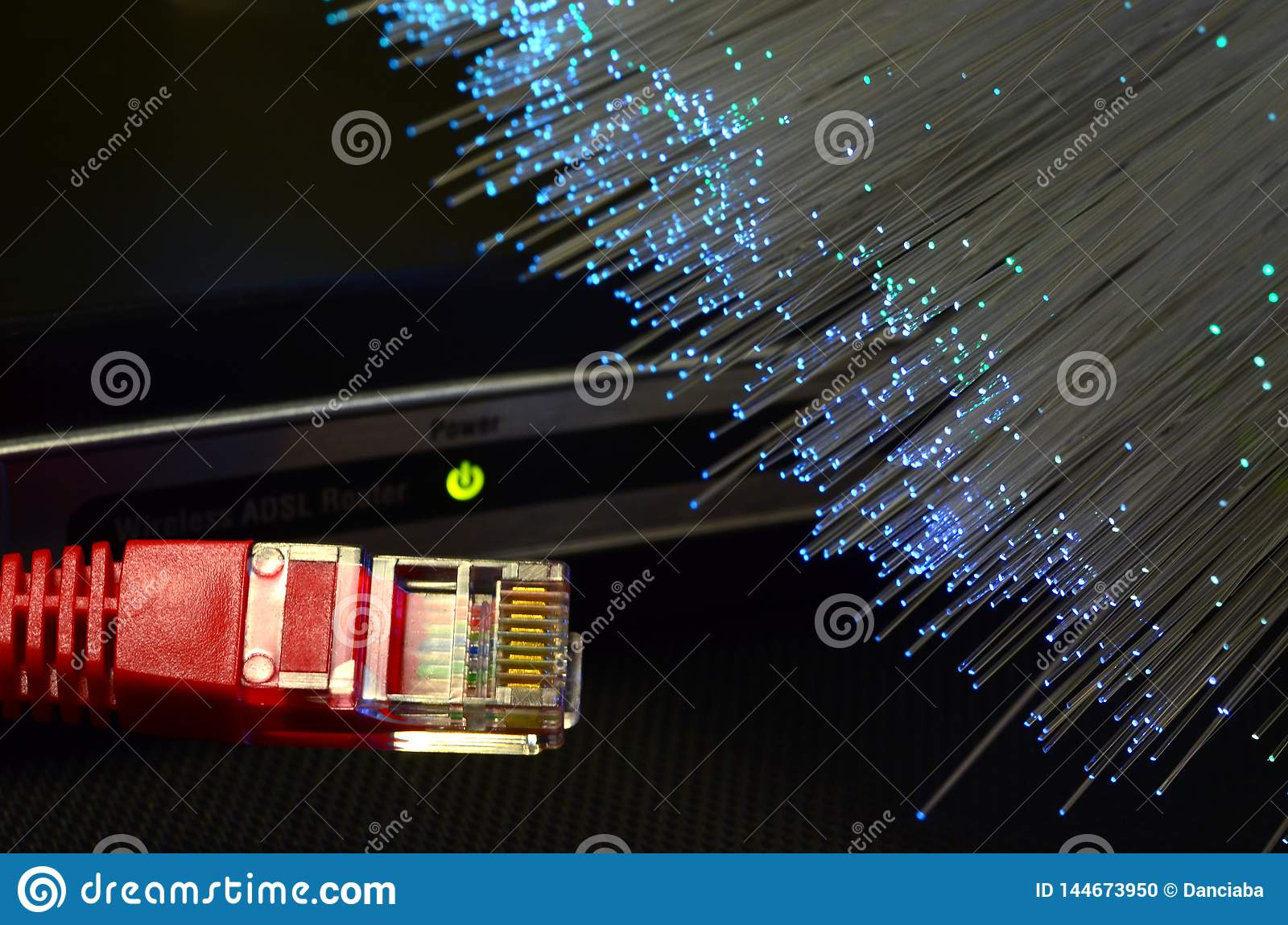 Detail Of ADSL Modem Router With Luminescent Fiber Optic Lights And