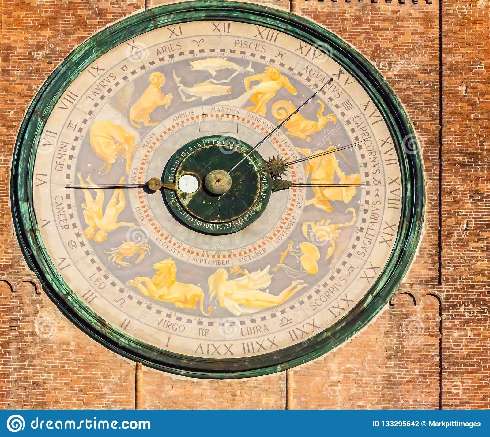 Detail of astronomical clock in Torrazzo tower Cremona Italy
