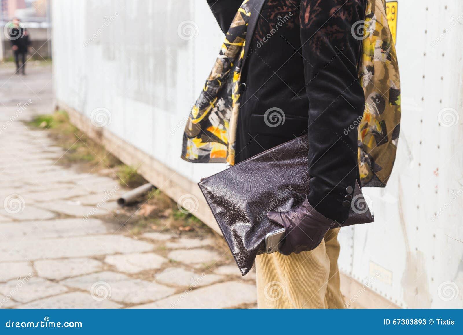 46fedc2c Detail of bag outside Gucci fashion show building for Milan Women Fashion  Week