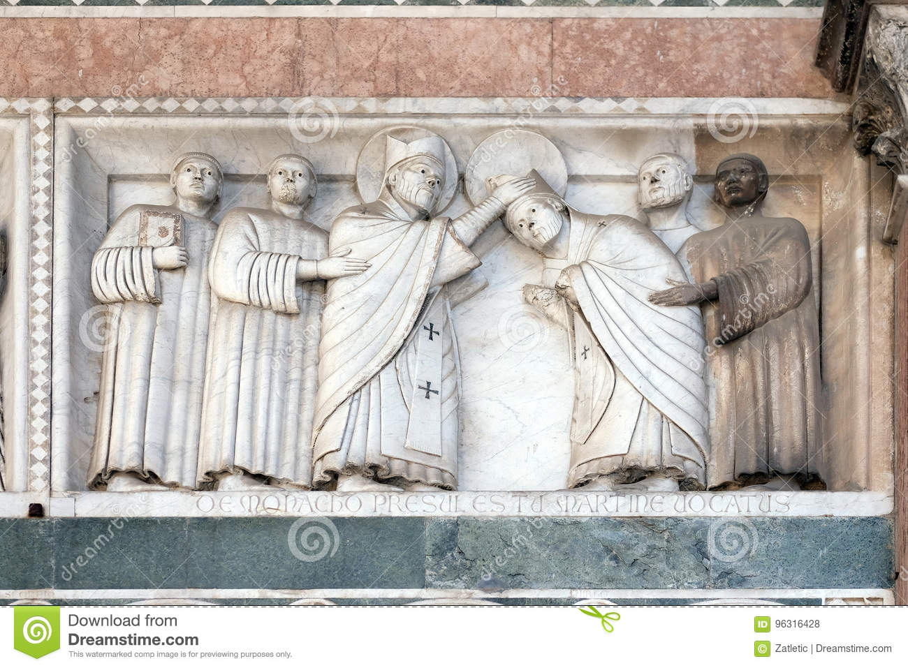 Bass-relief representing the Stories of St. Martin, Cathedral of St. Martin in Lucca, Italy